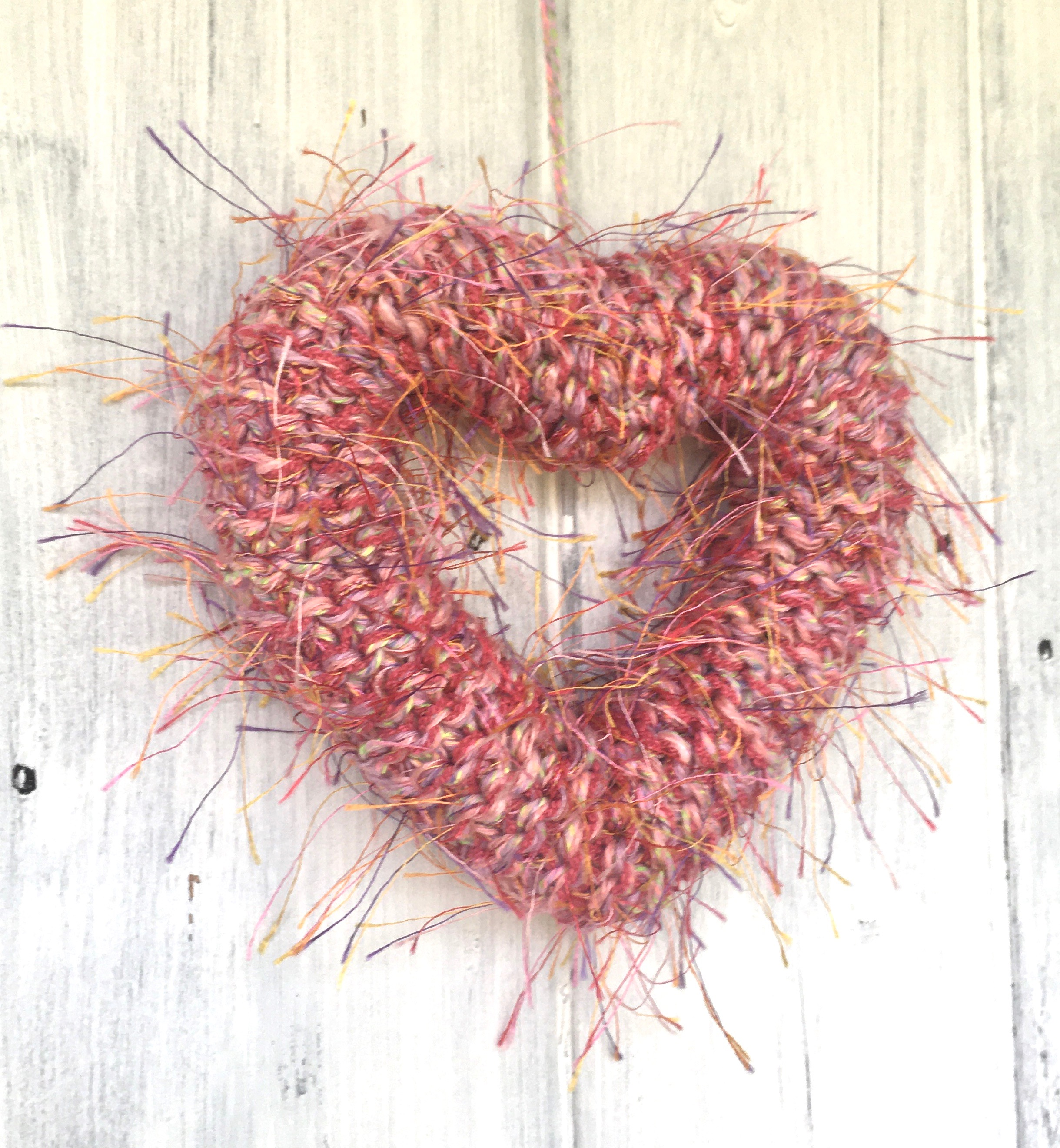 Pink Fluffy Knitted Heart