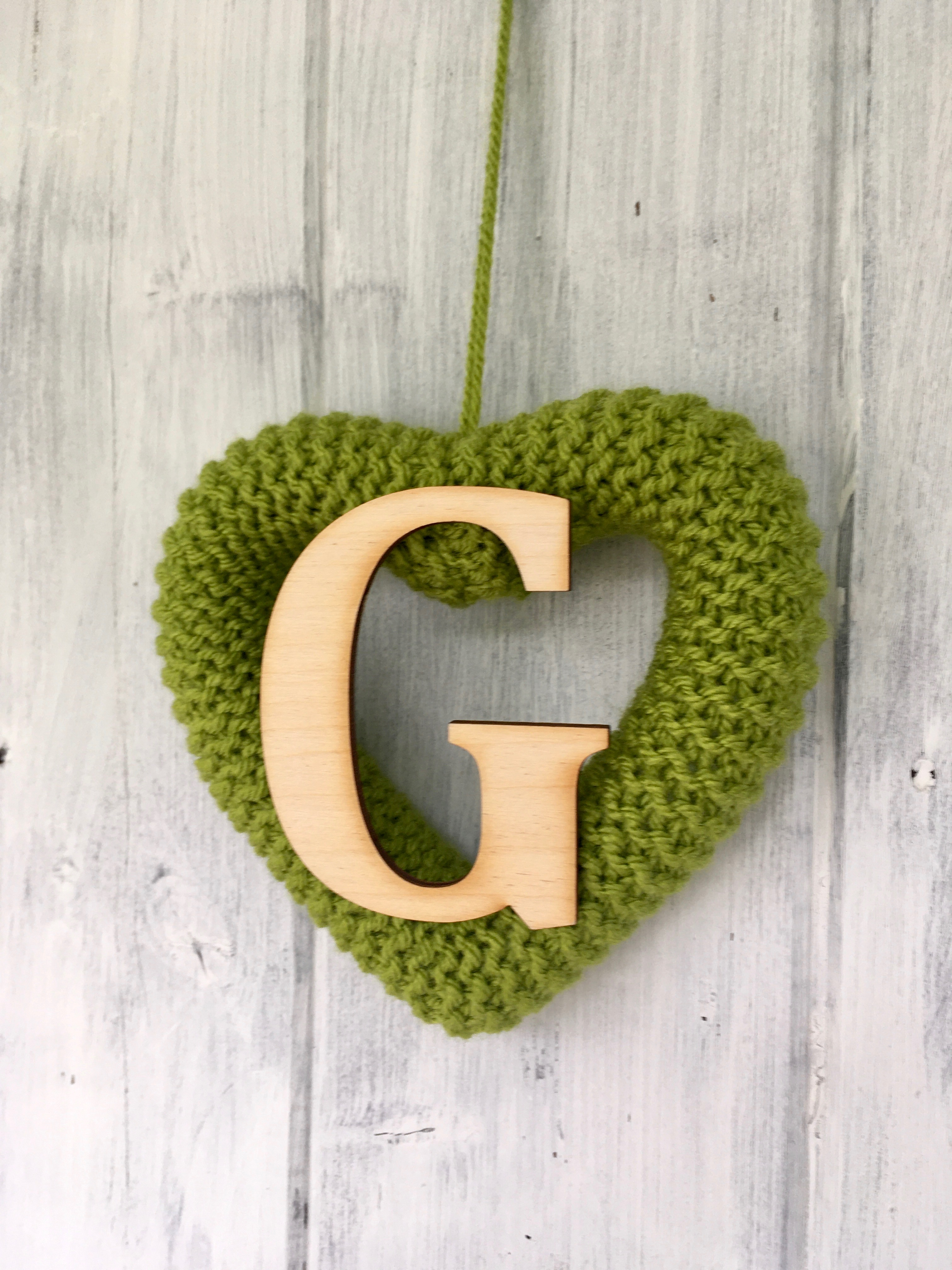 Knitted Heart Lime Green