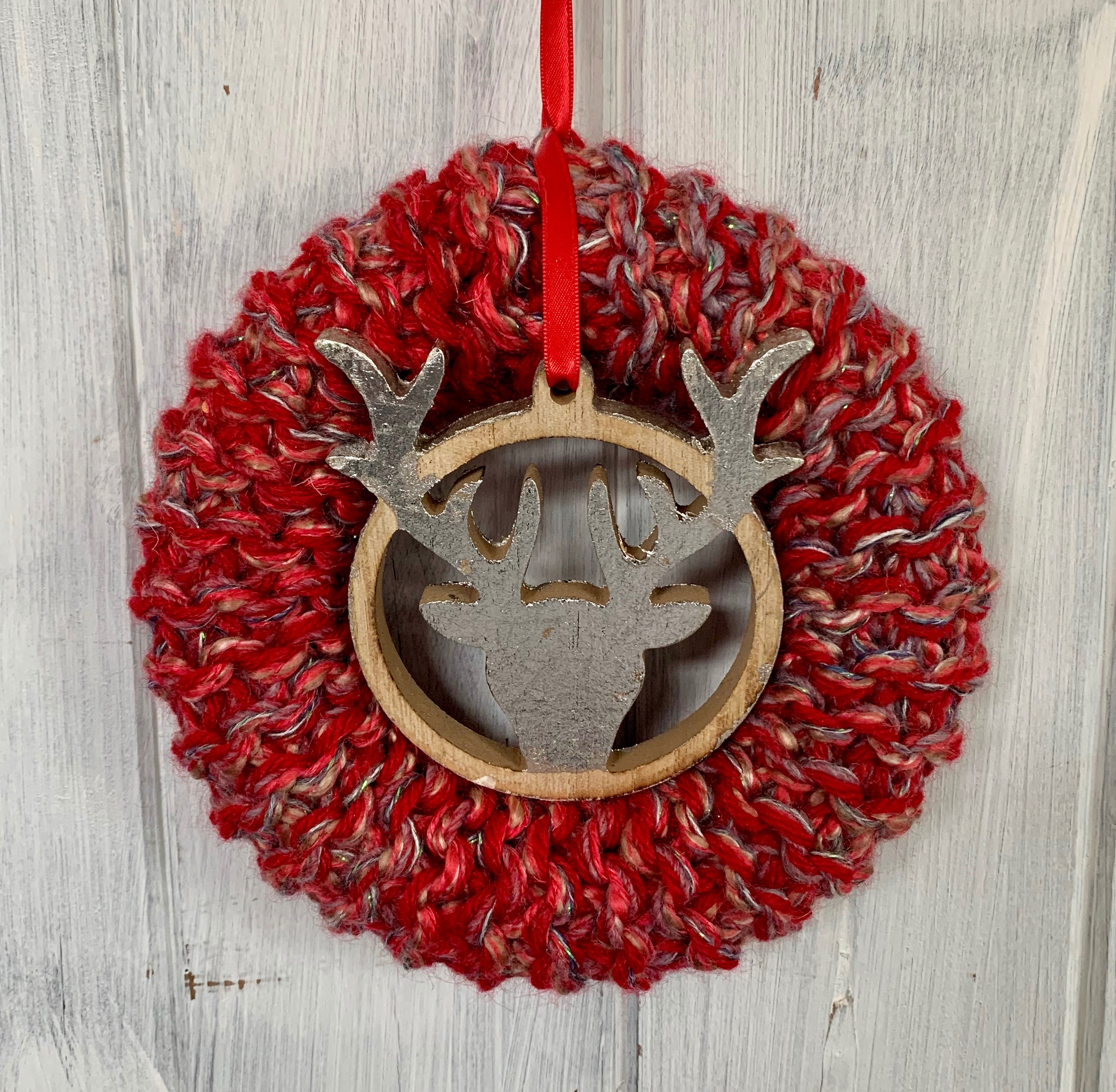 Medium Red and Silver Stags Head Christmas Wreath