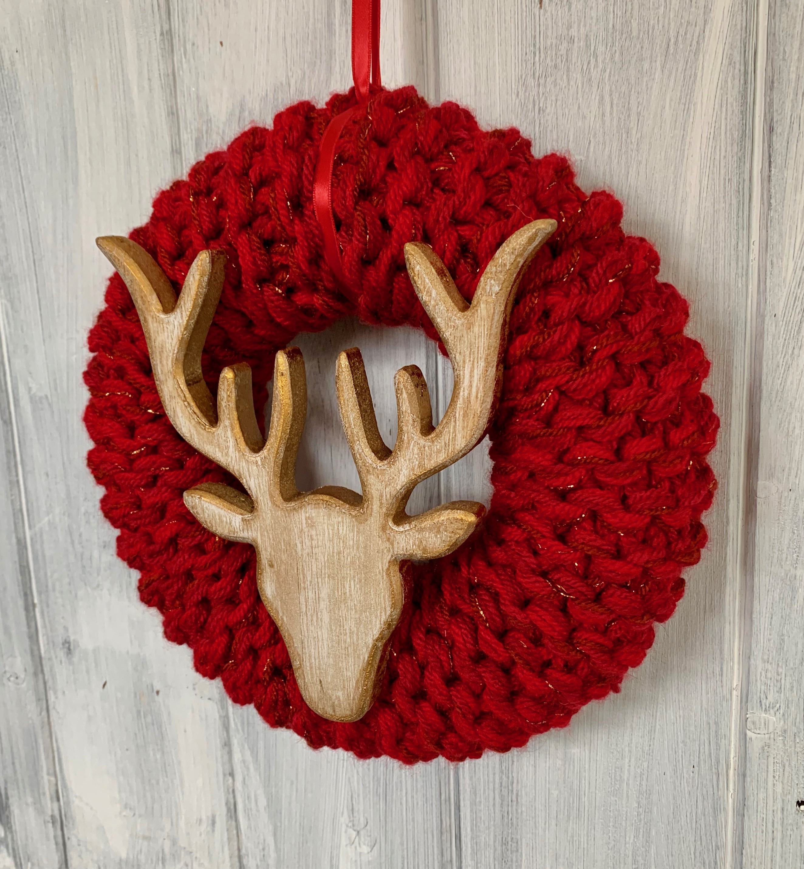 Large Red and Gold Stags Head Christmas Wreath