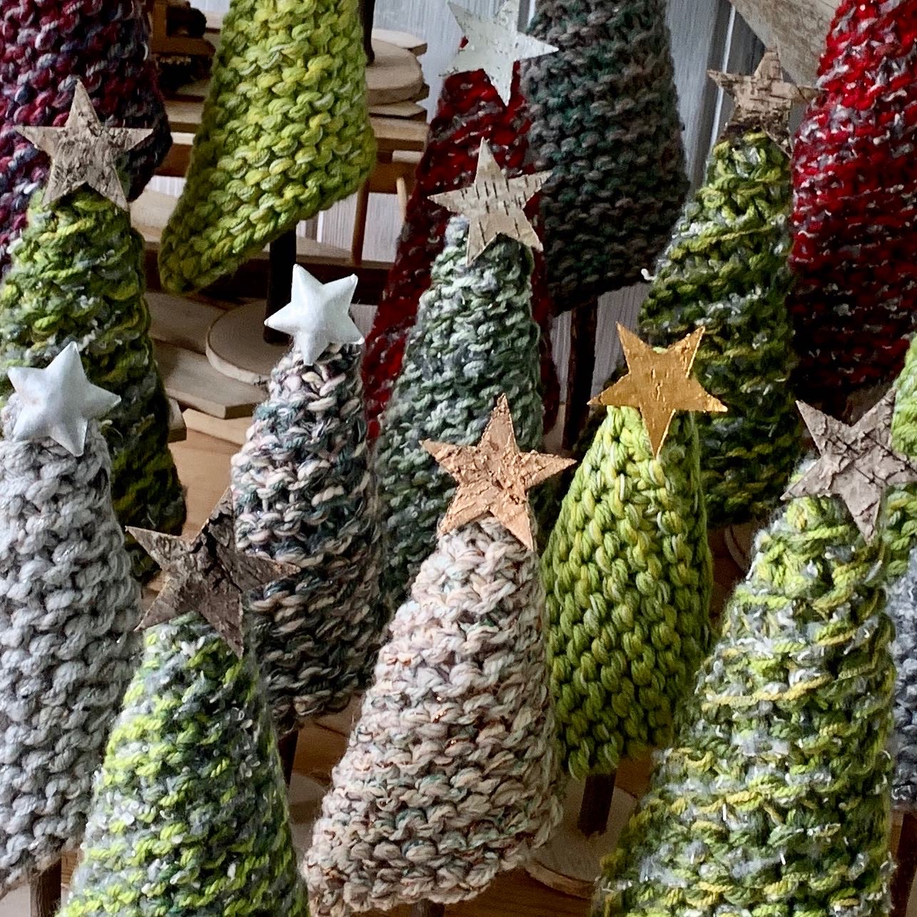 Large Knitted Christmas Trees