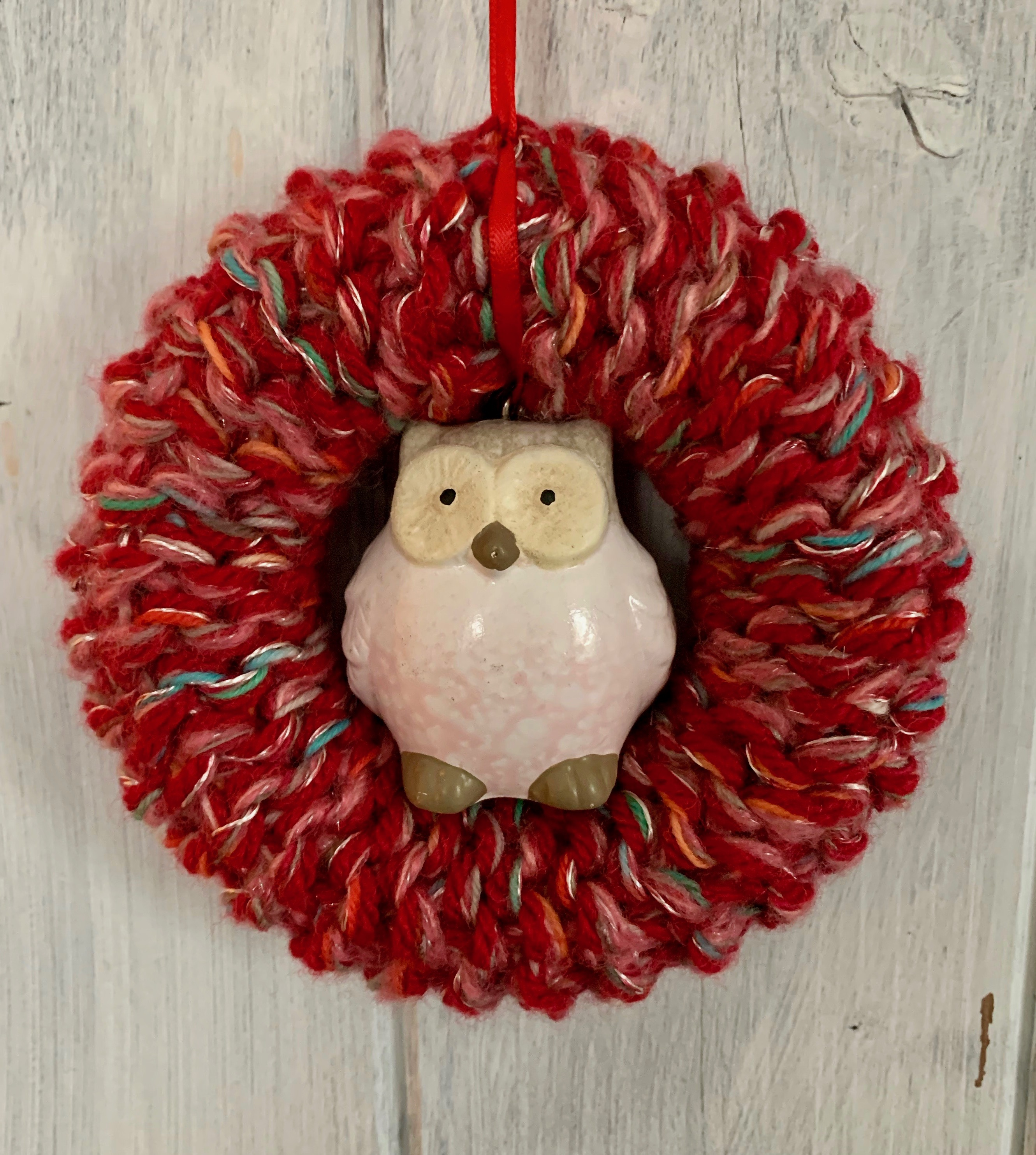 Small Red Owl Christmas Wreath