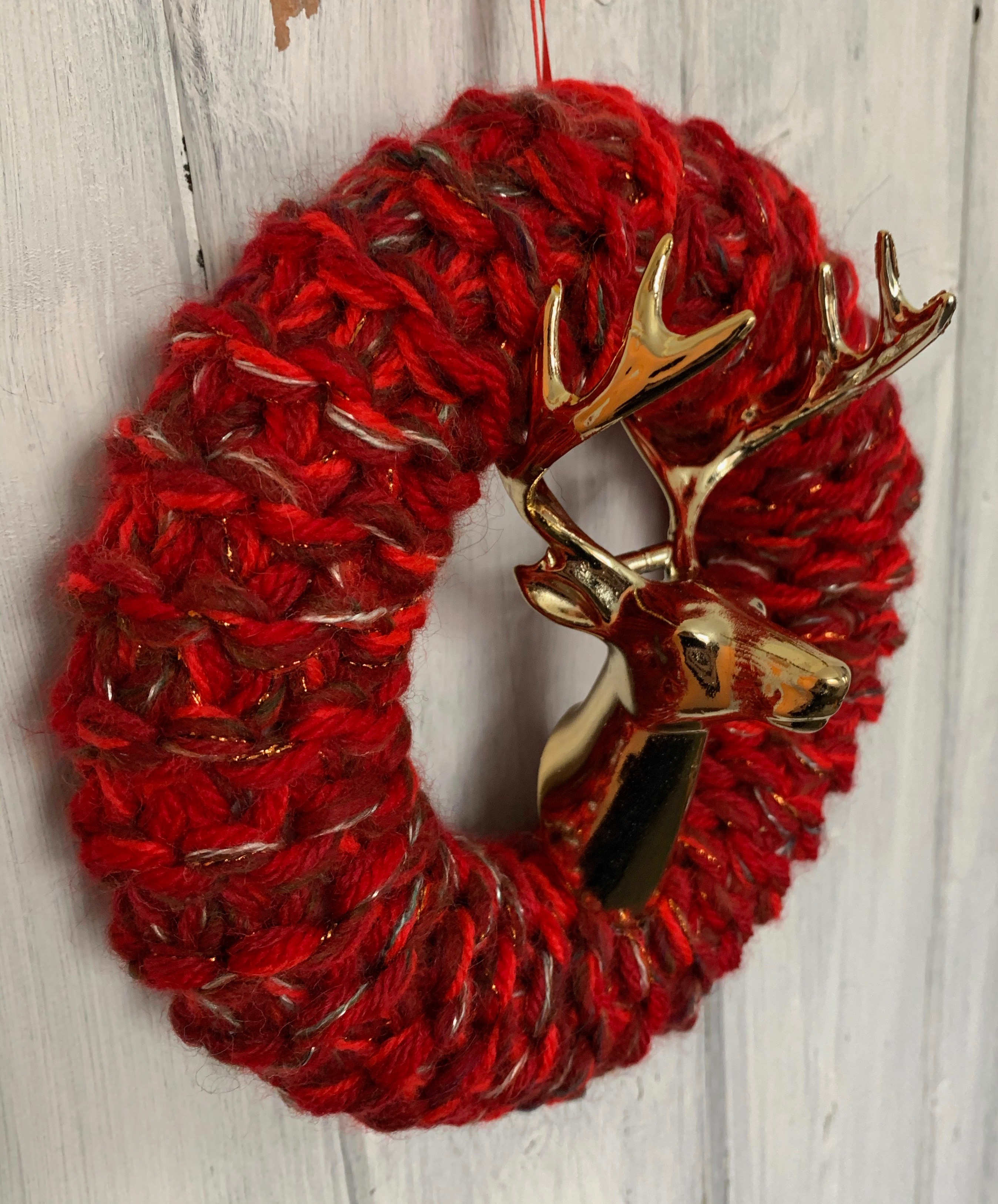 Medium Red and Gold Stags Head Christmas Wreath