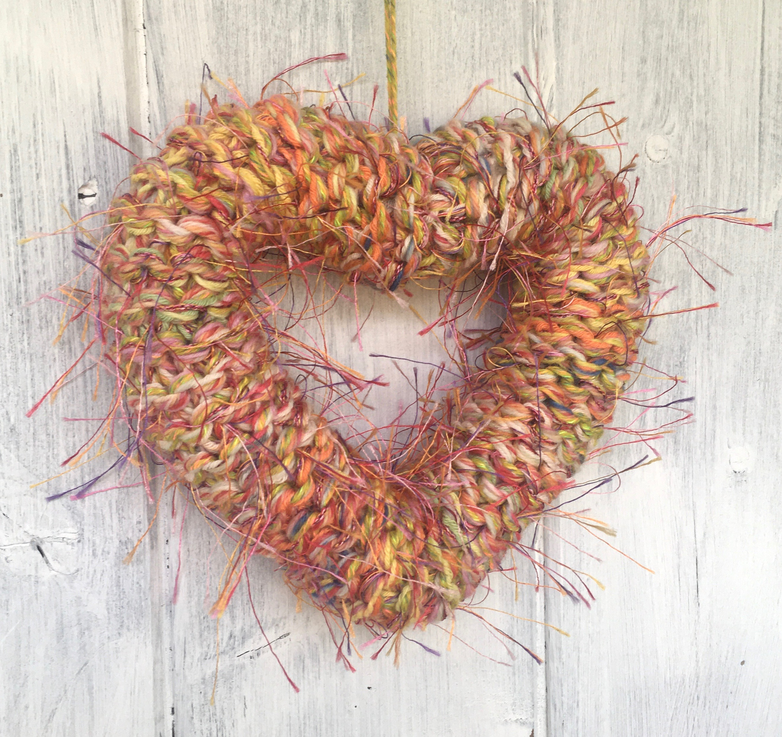 Fluffy Orange and Yellow Knitted Heart