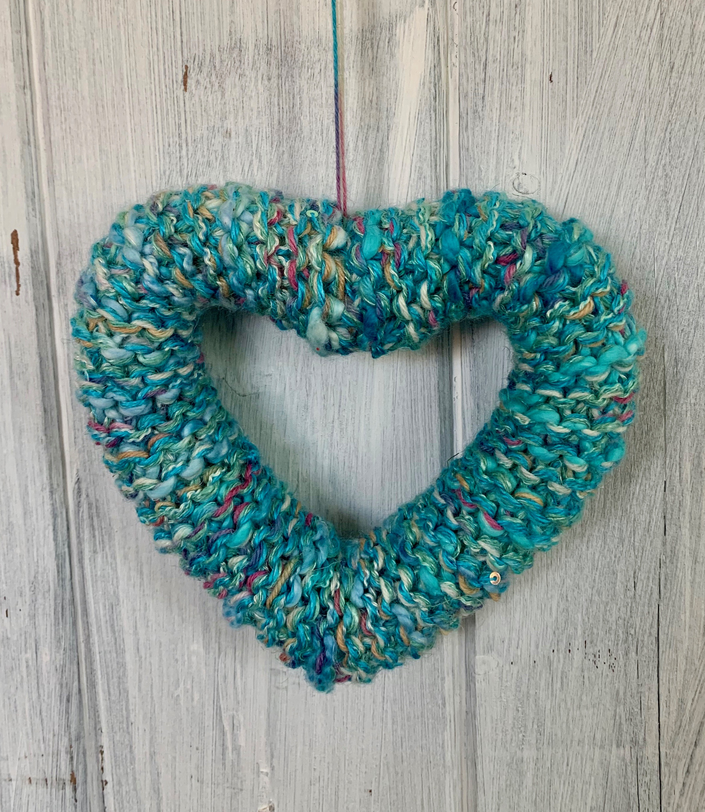 Mixed Blue and Turquoise Knitted Heart