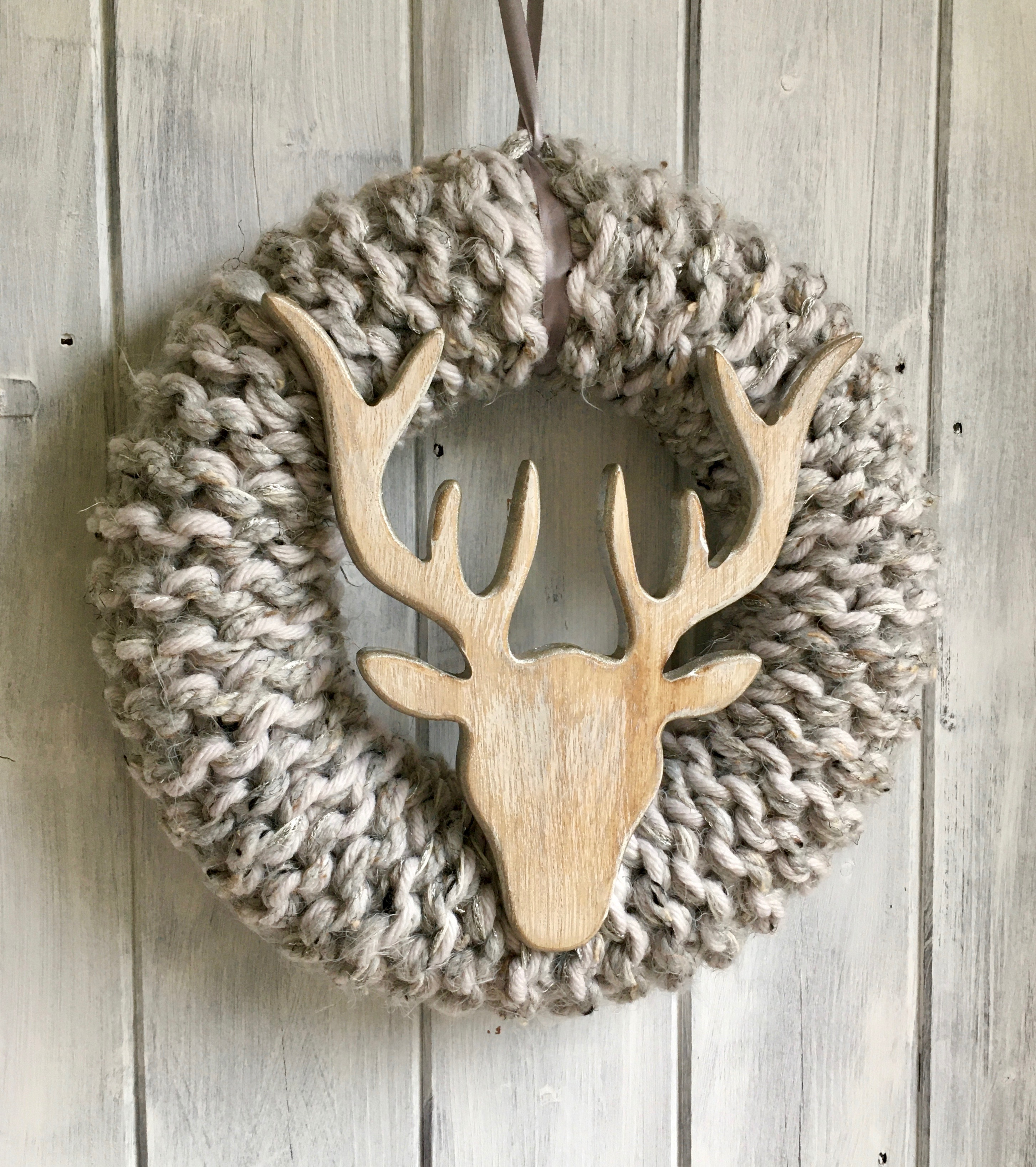 Large Silver Grey Stags Head Christmas Wreath