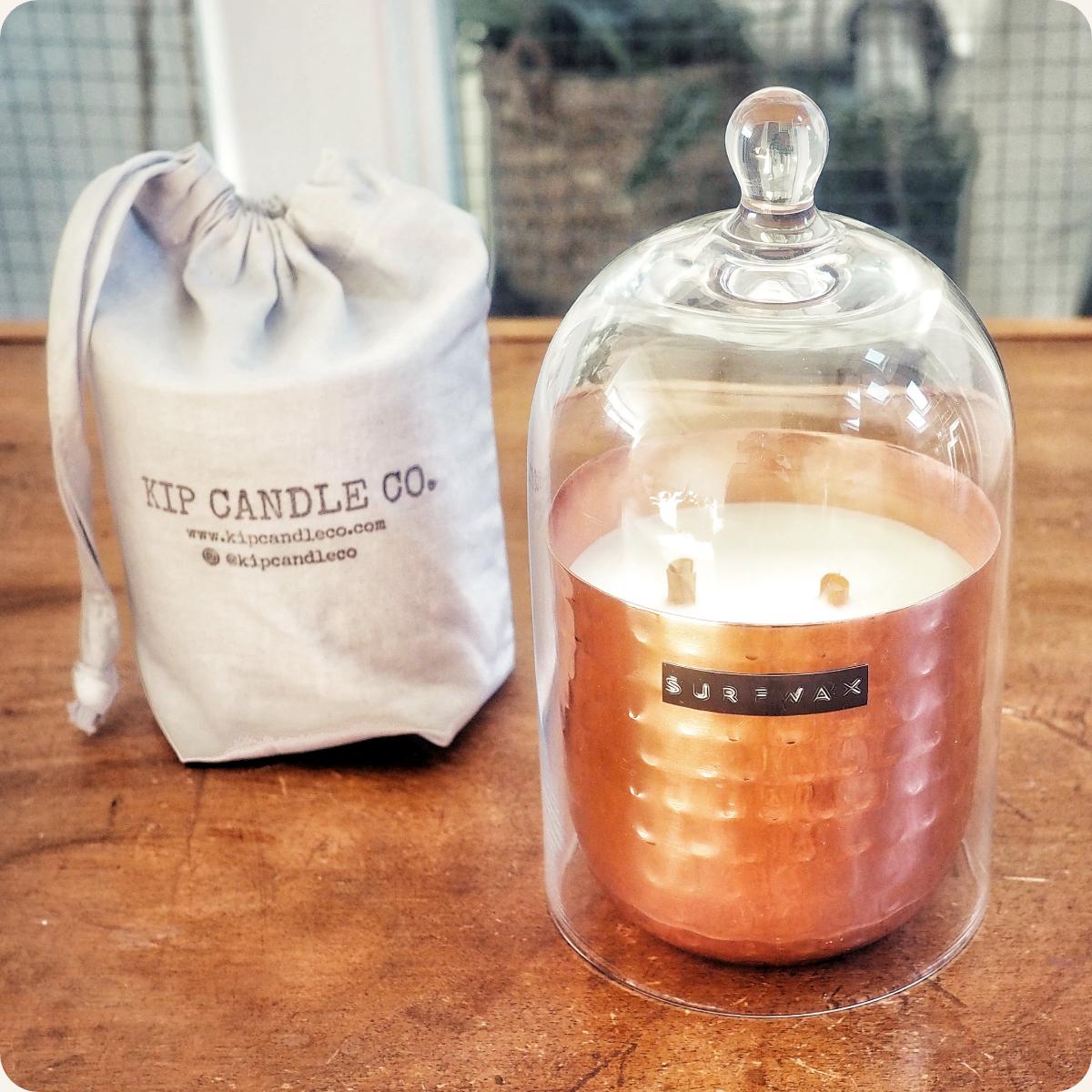 Surfwax Original Hammered Copper Candle & Bell Jar Bundle.