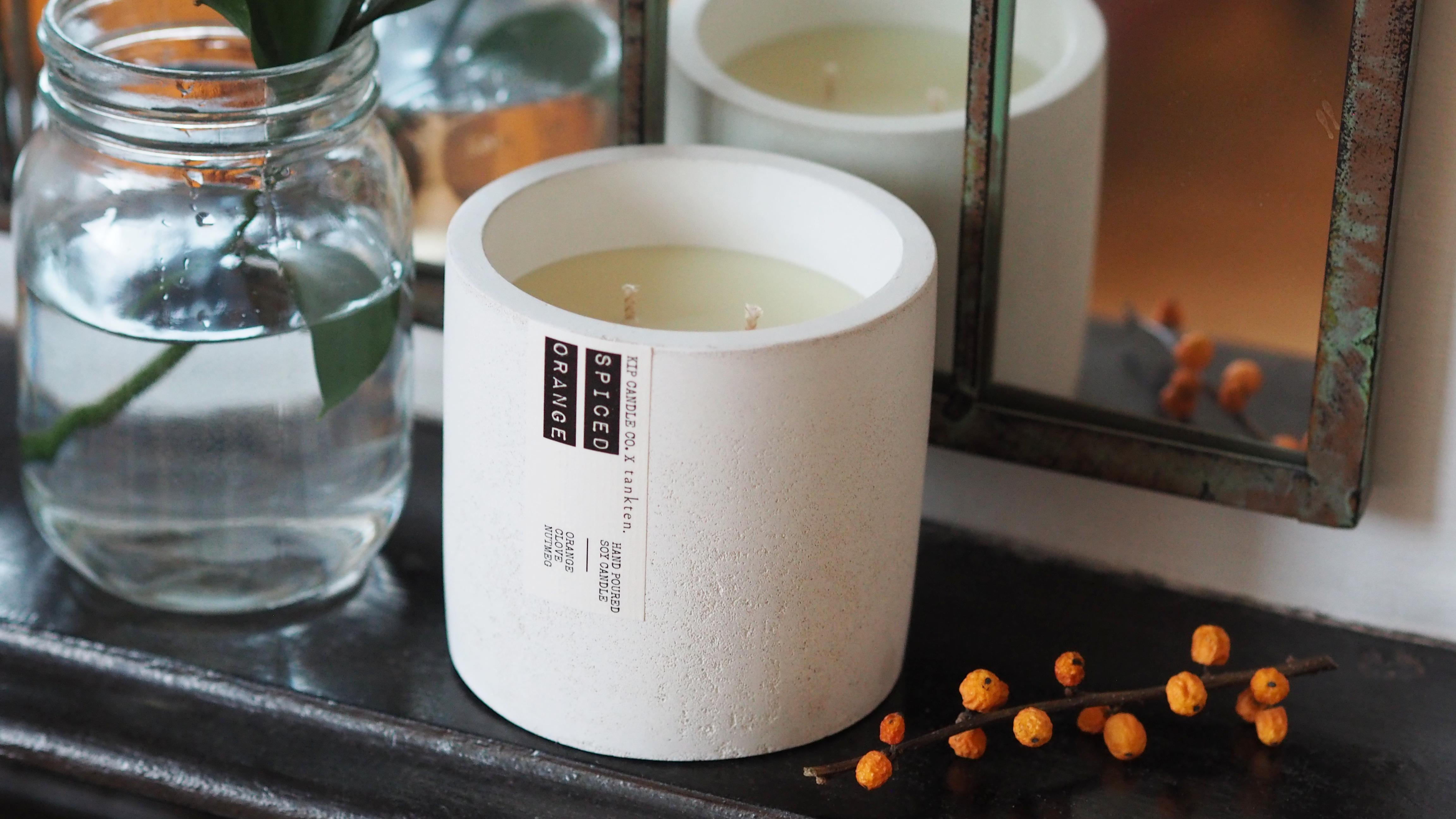 SPICED ORANGE x FRESH SHEETS Tankten concrete pot candle £40.