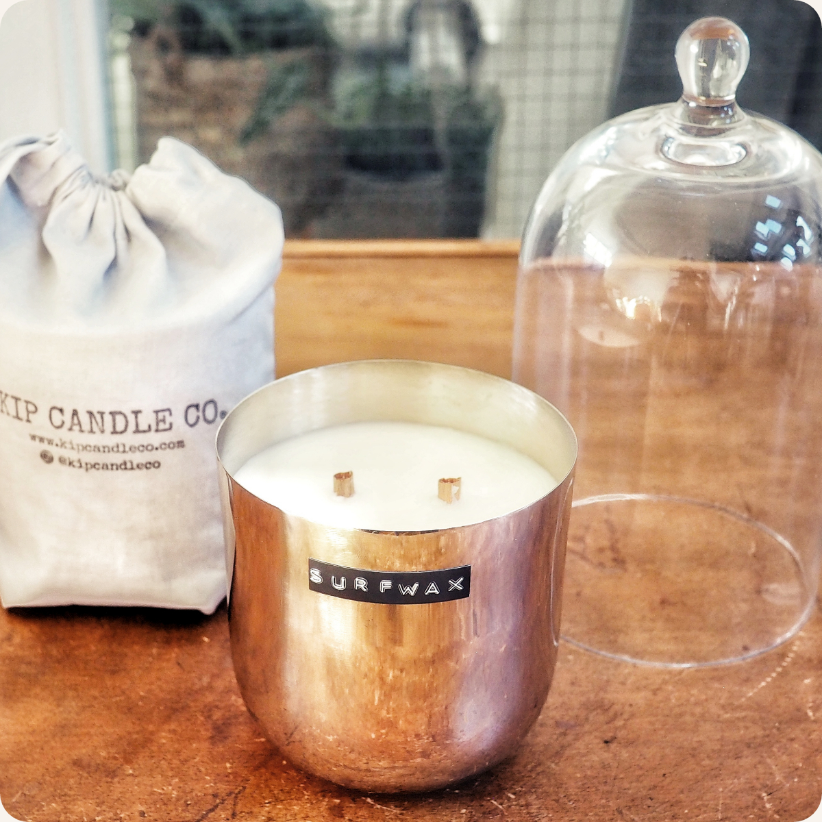 Surfwax Original Silver Candle & Bell Jar Bundle.