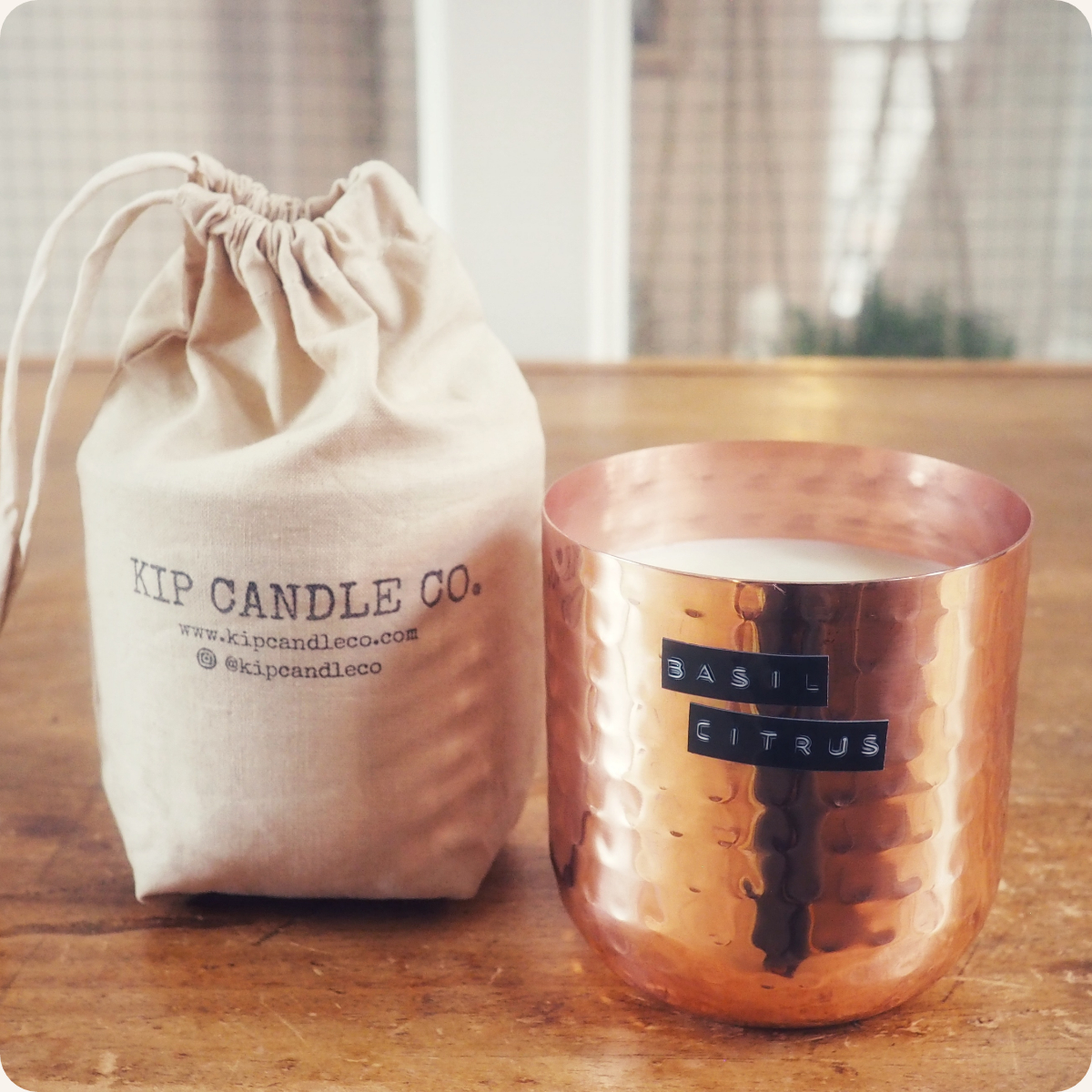 Basil Citrus Original Hammered Copper Candle.