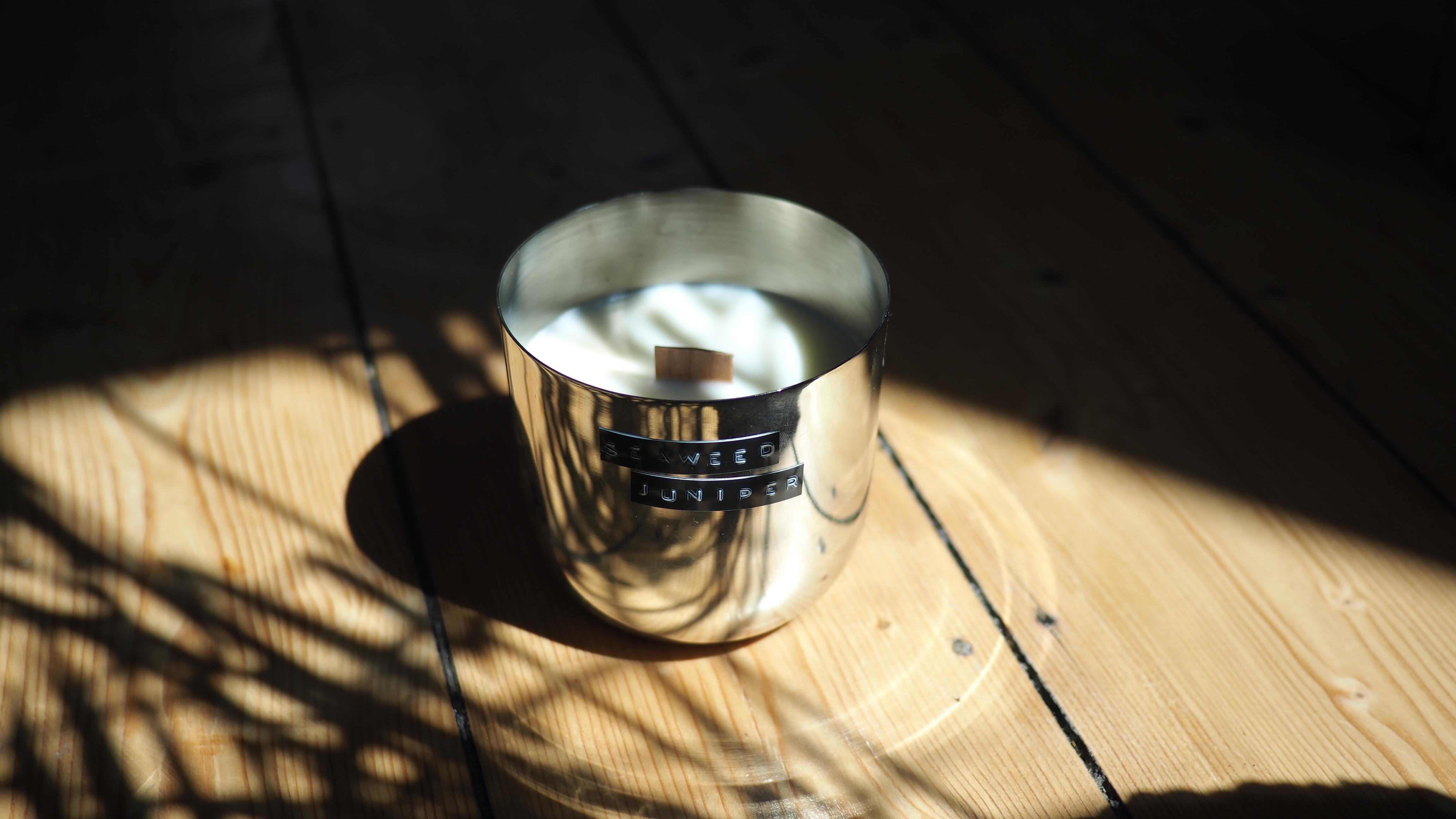 Seaweed Juniper Original Silver Candle.