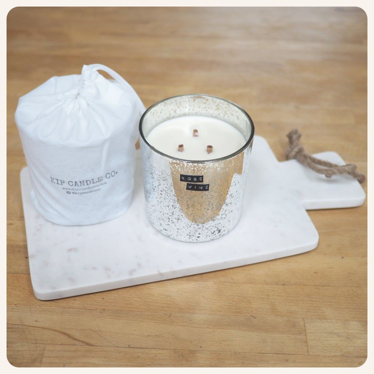 Rosé Wine Silver Coffee Table Candle
