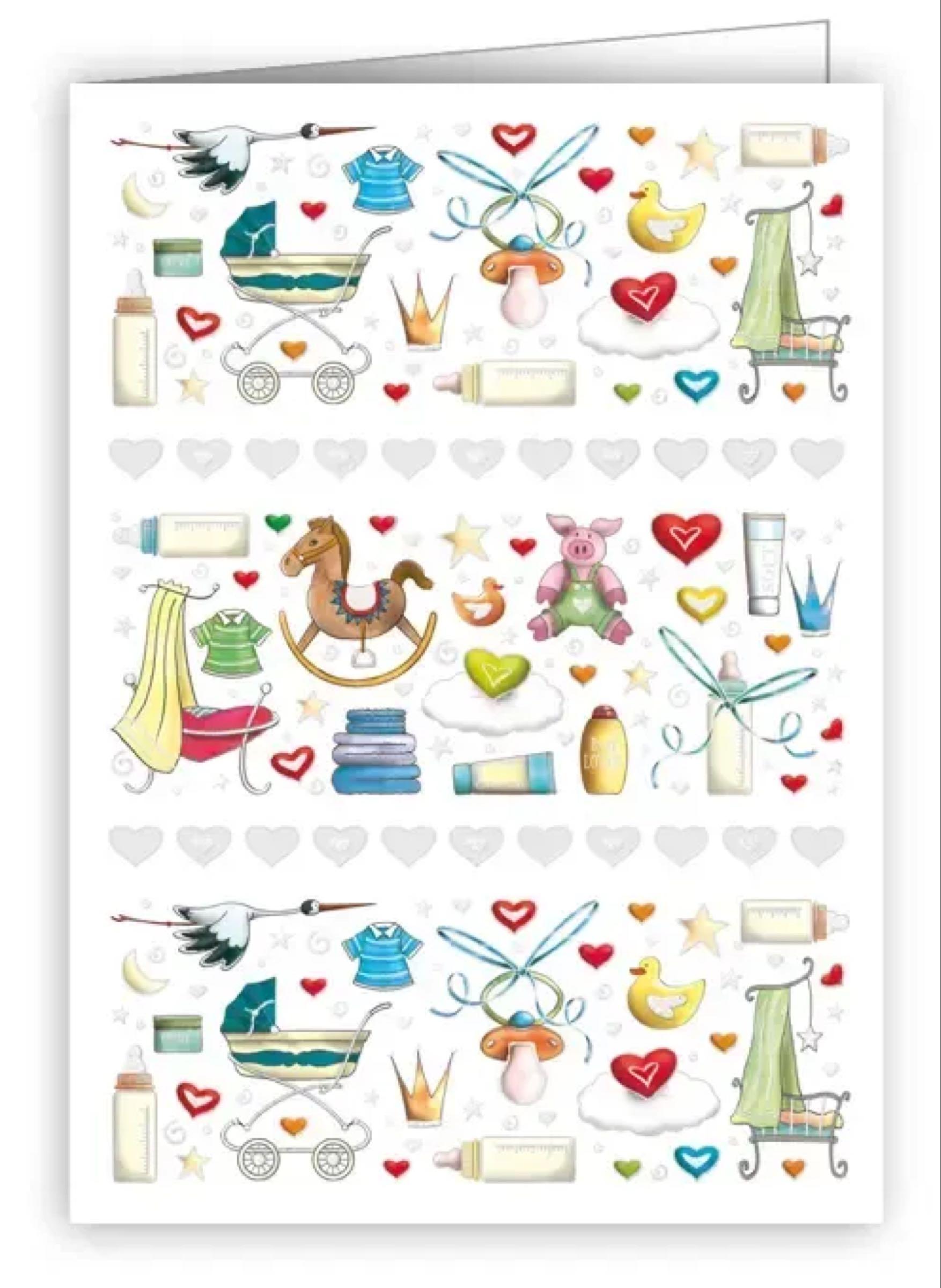 Baby Boy Icons & Hearts  mini greetings card