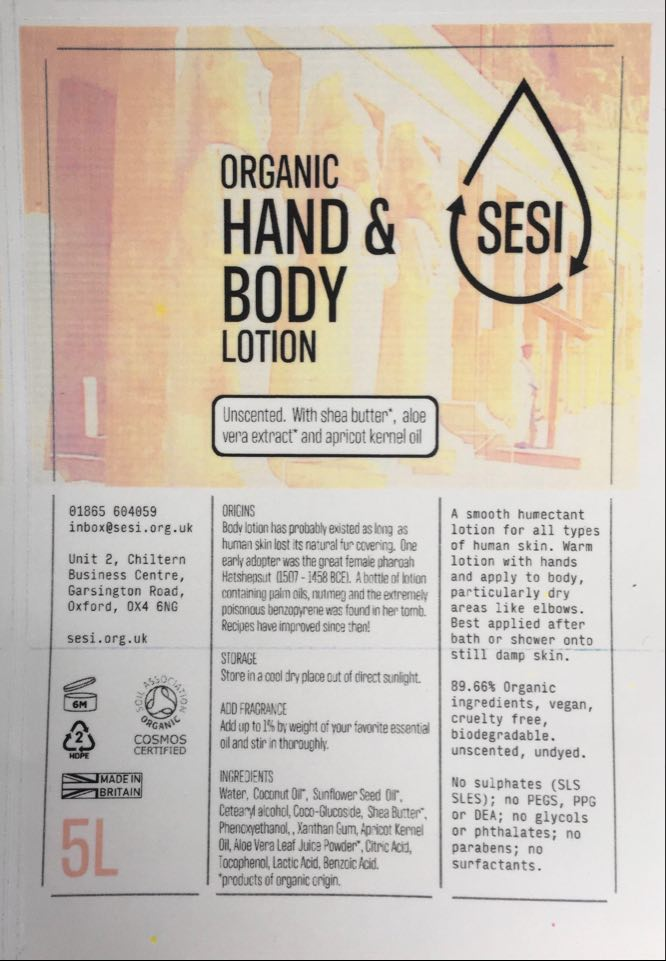 Organic Hand & Body Lotion (Unscented, SESI)