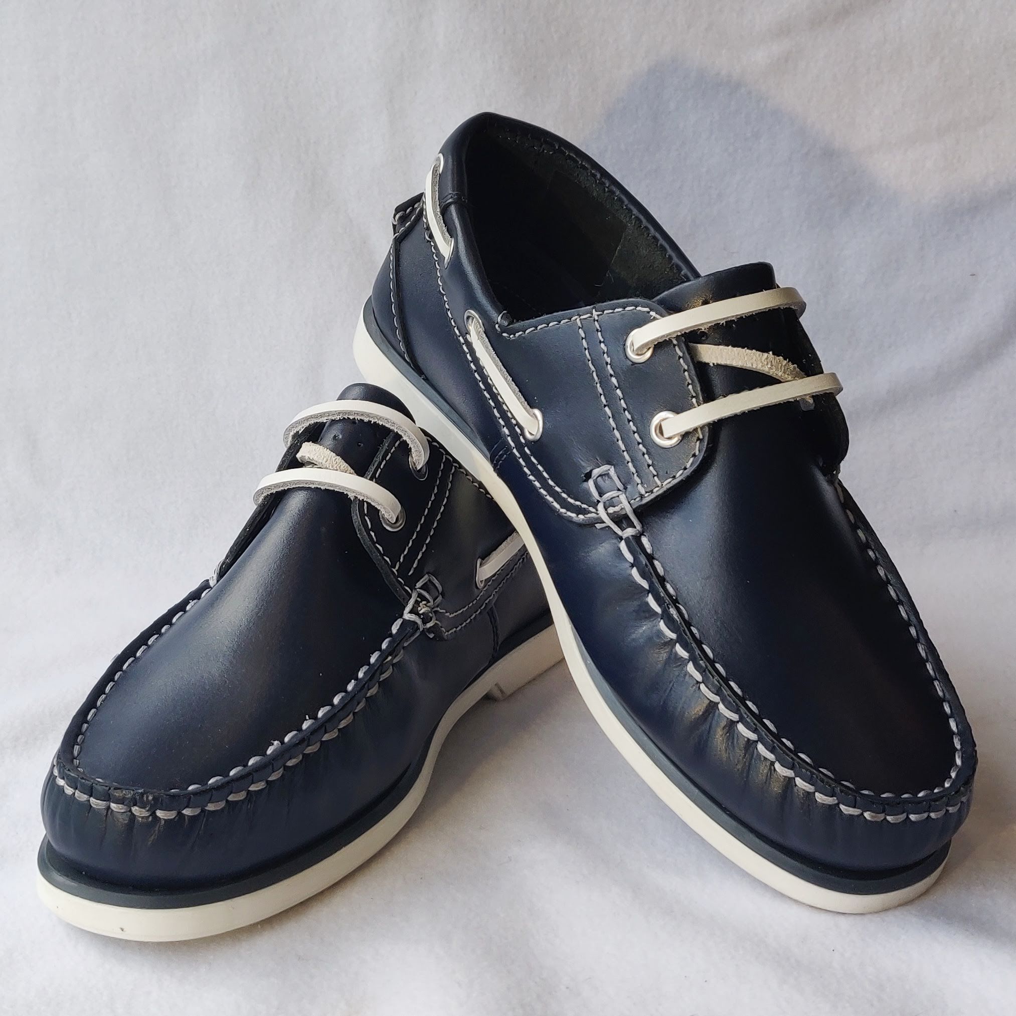 Dek Navy Leather Boat Shoes