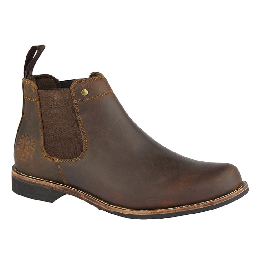 Gents Woodland Brown Leather Chelsea Boots (10)