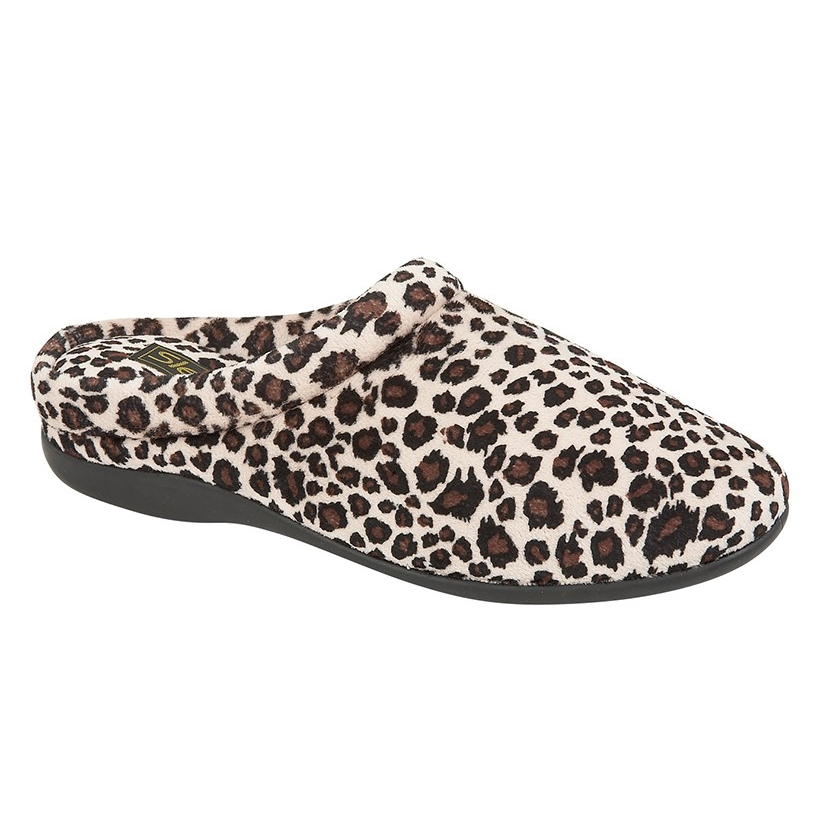 Ladies Carmen Leopard Print Mule Slippers