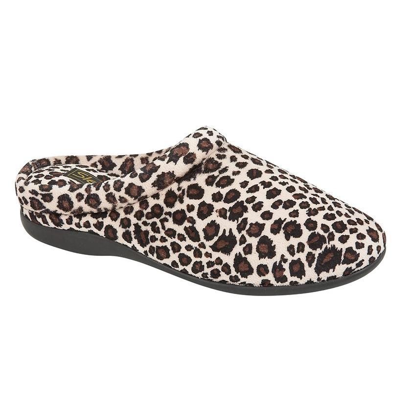 Ladies Carmen Leopard Print Mule Slippers