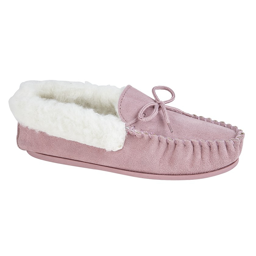 Ladies Fur Lined Mokkers Slippers