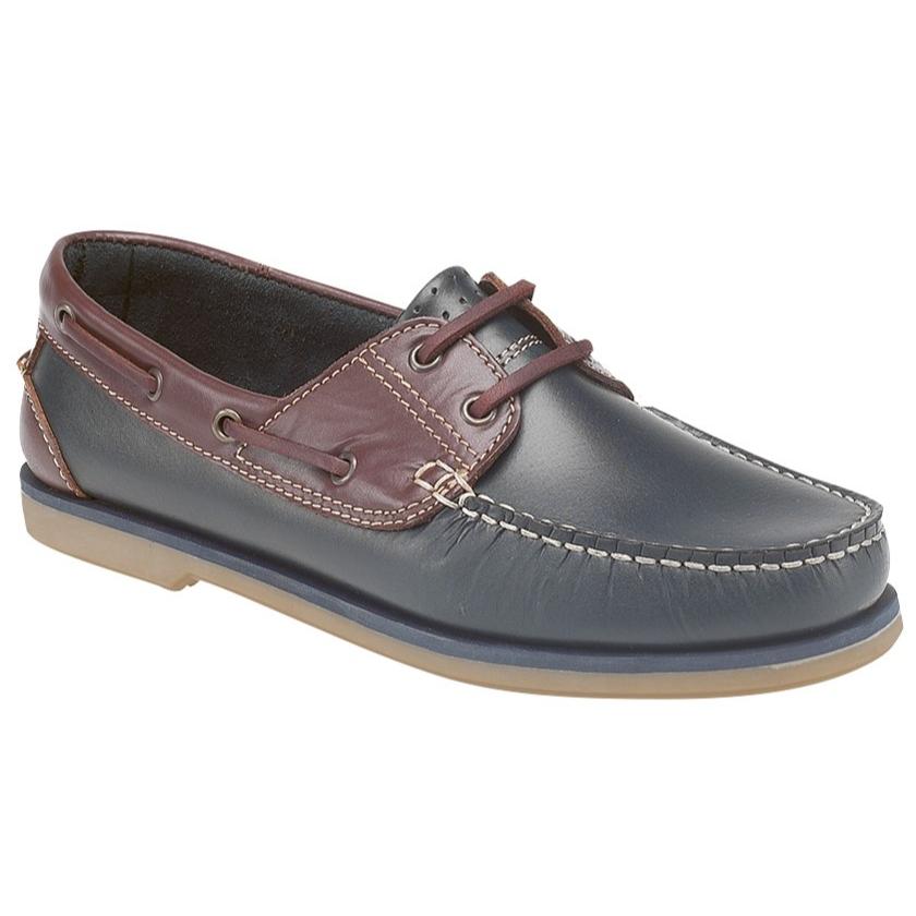 Dek Leather Navy/Brown Boat Shoes