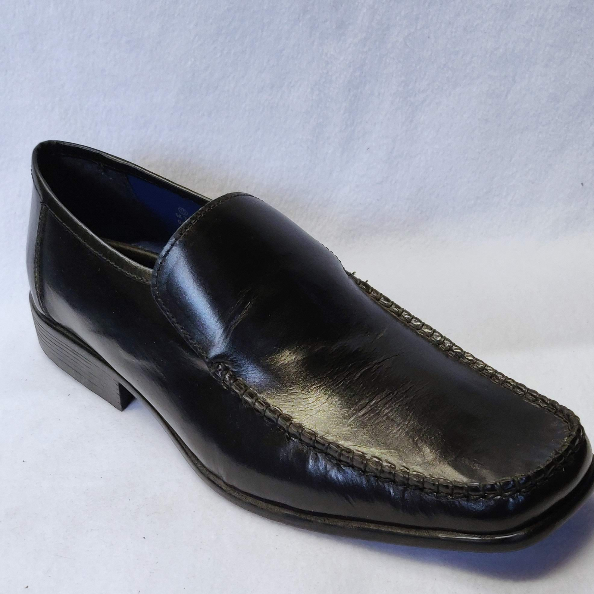 Gents Route 21 Black Leather Slip On (10)