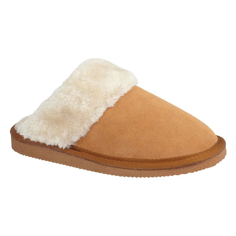 Mokkers Real Suede Mule Slipper in Purple and Sand