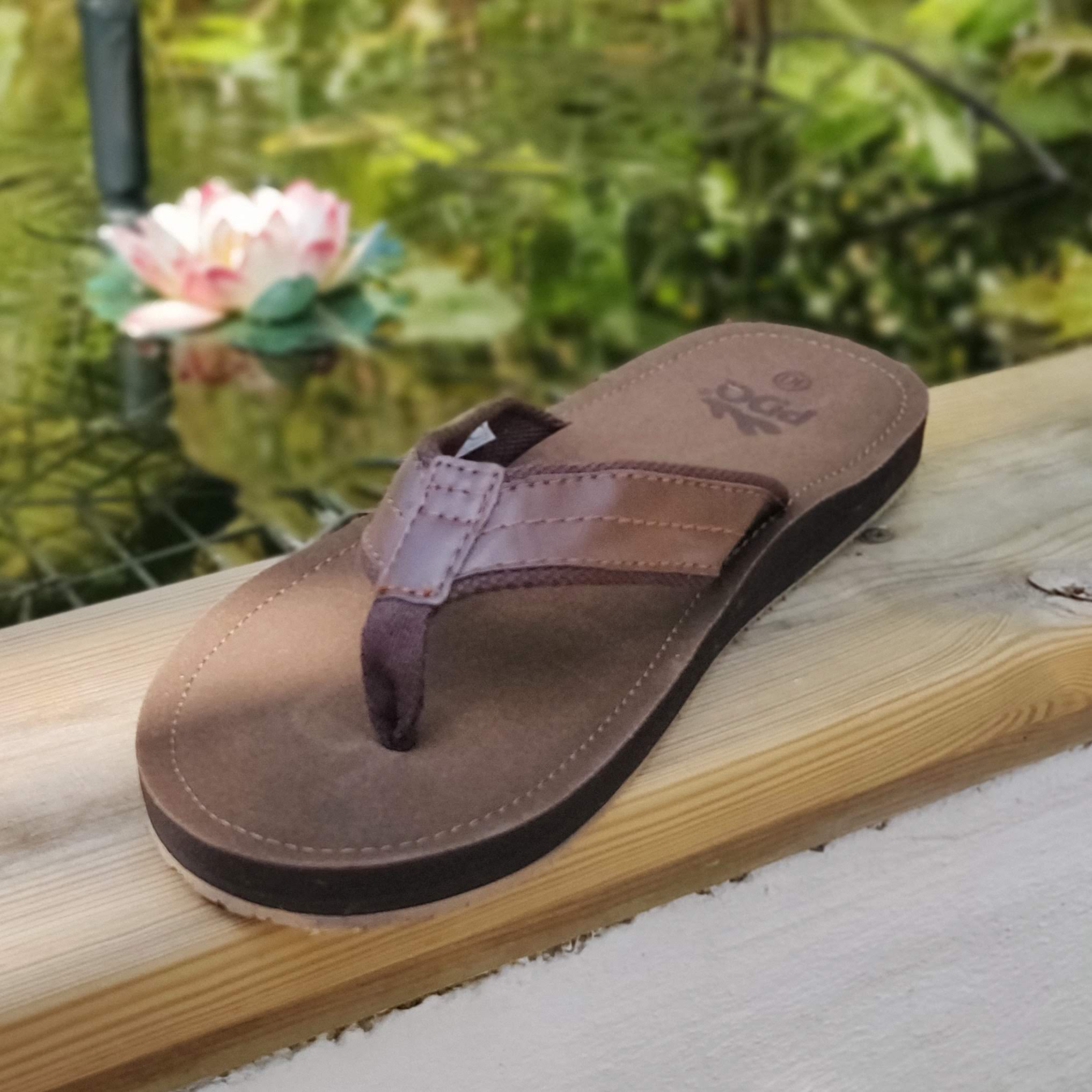 Mens Brown Leather Toe Post Flip Flops
