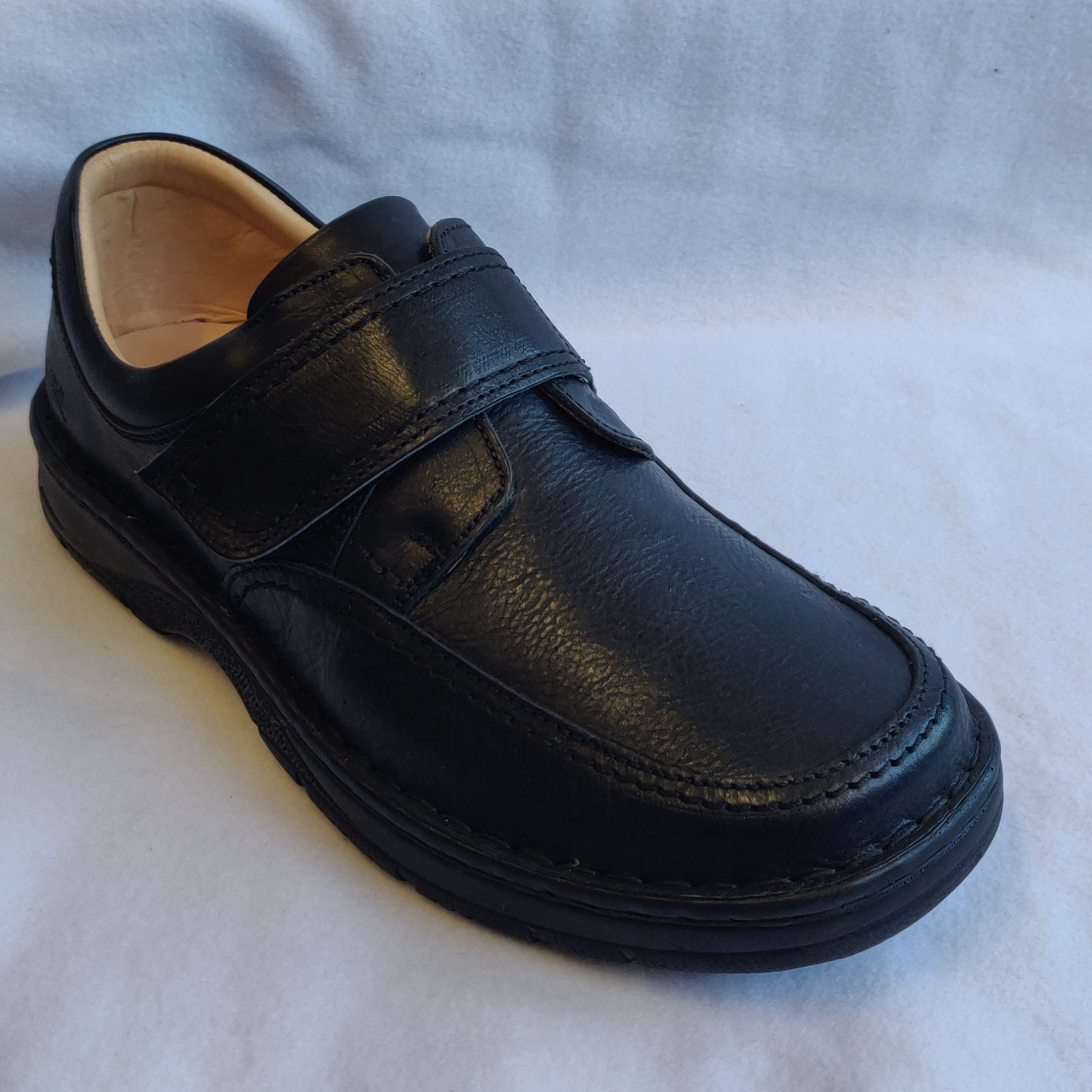Gents Softwalk Black Leather Velcro Casuals (9)