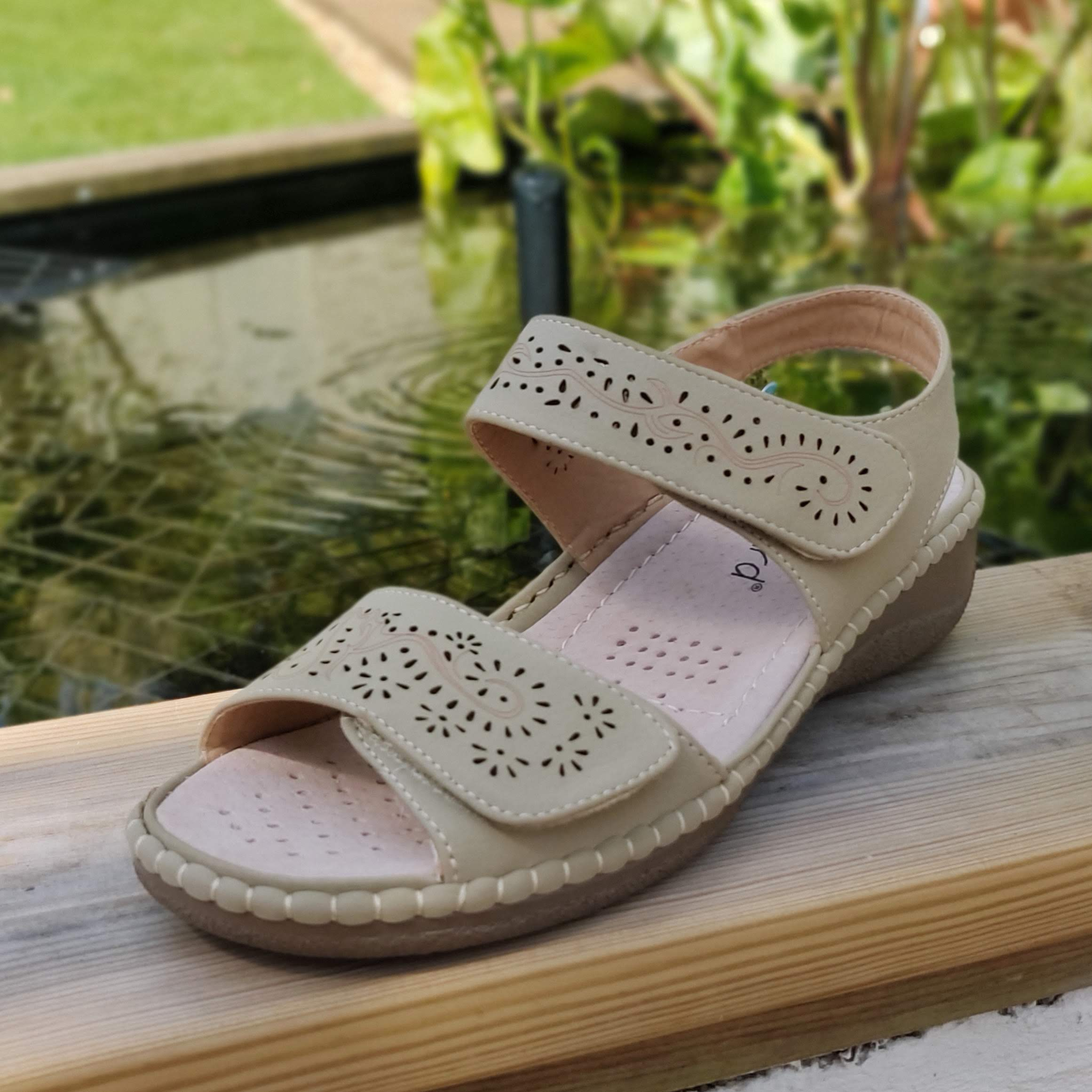 Ladies Beige Velcro Sandals