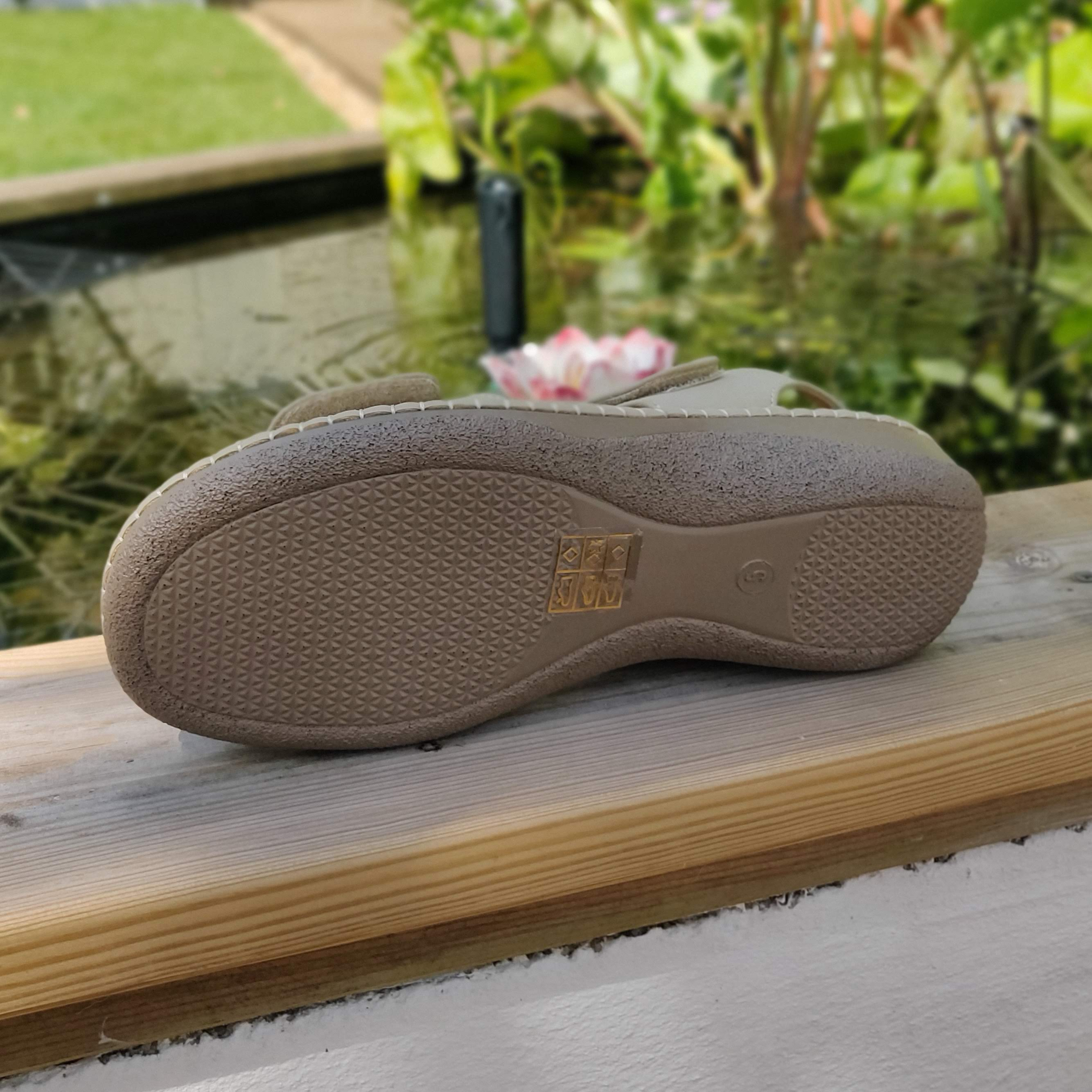 Ladies Beige and Stone Velcro Sandals