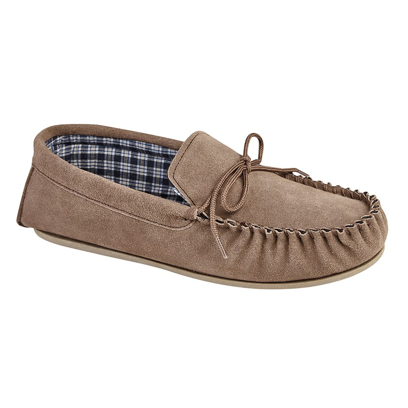 Mokkers Gents Taupe Brown Suede Slippers