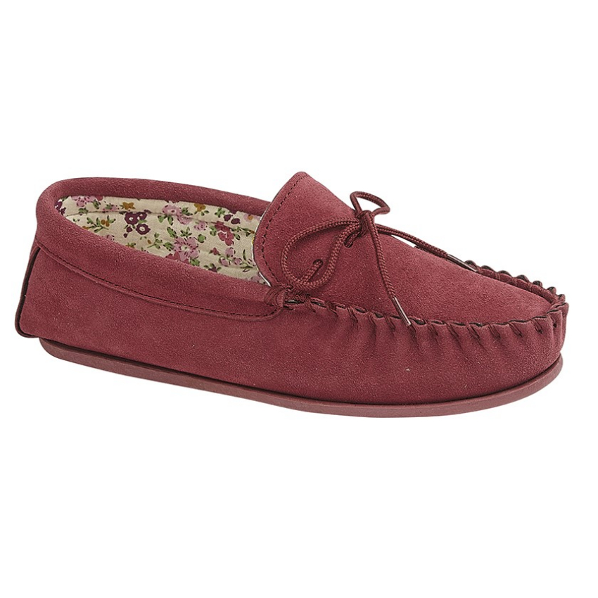 Mokkers Ladies Red Suede Slippers