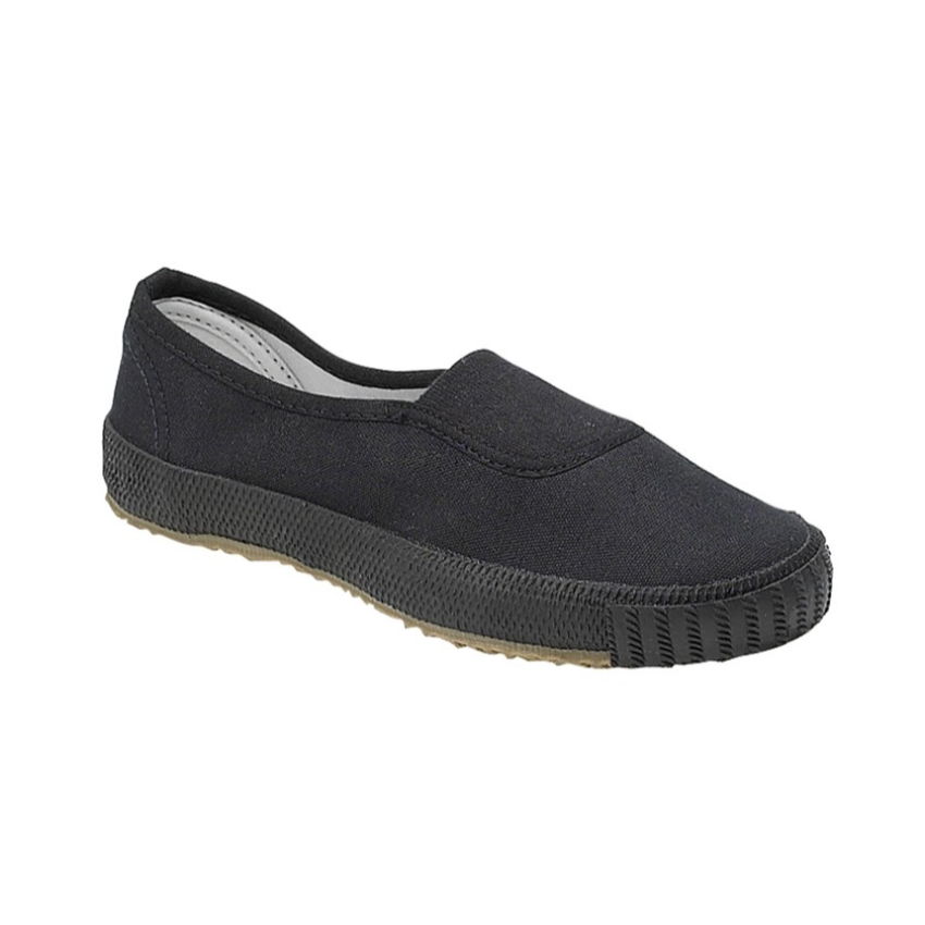 Dek Black Slip On Plimsoles