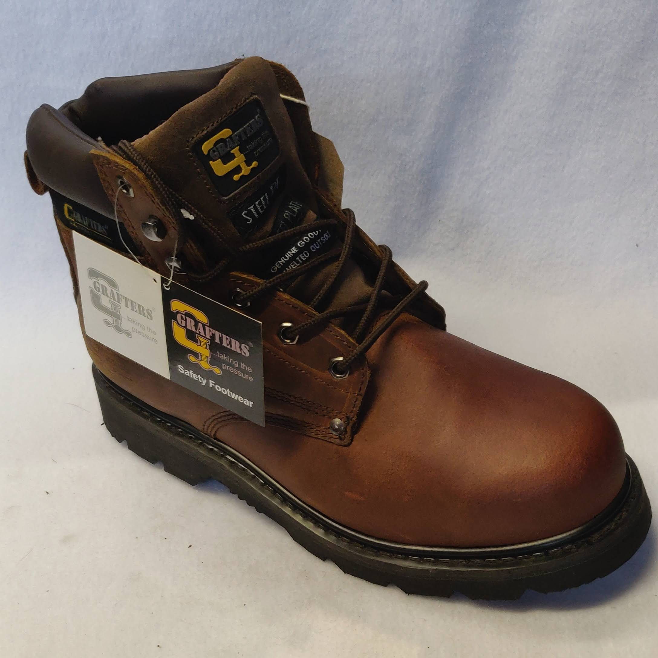 Mens Grafters Brown Leather Steel Safety Boot Size 11