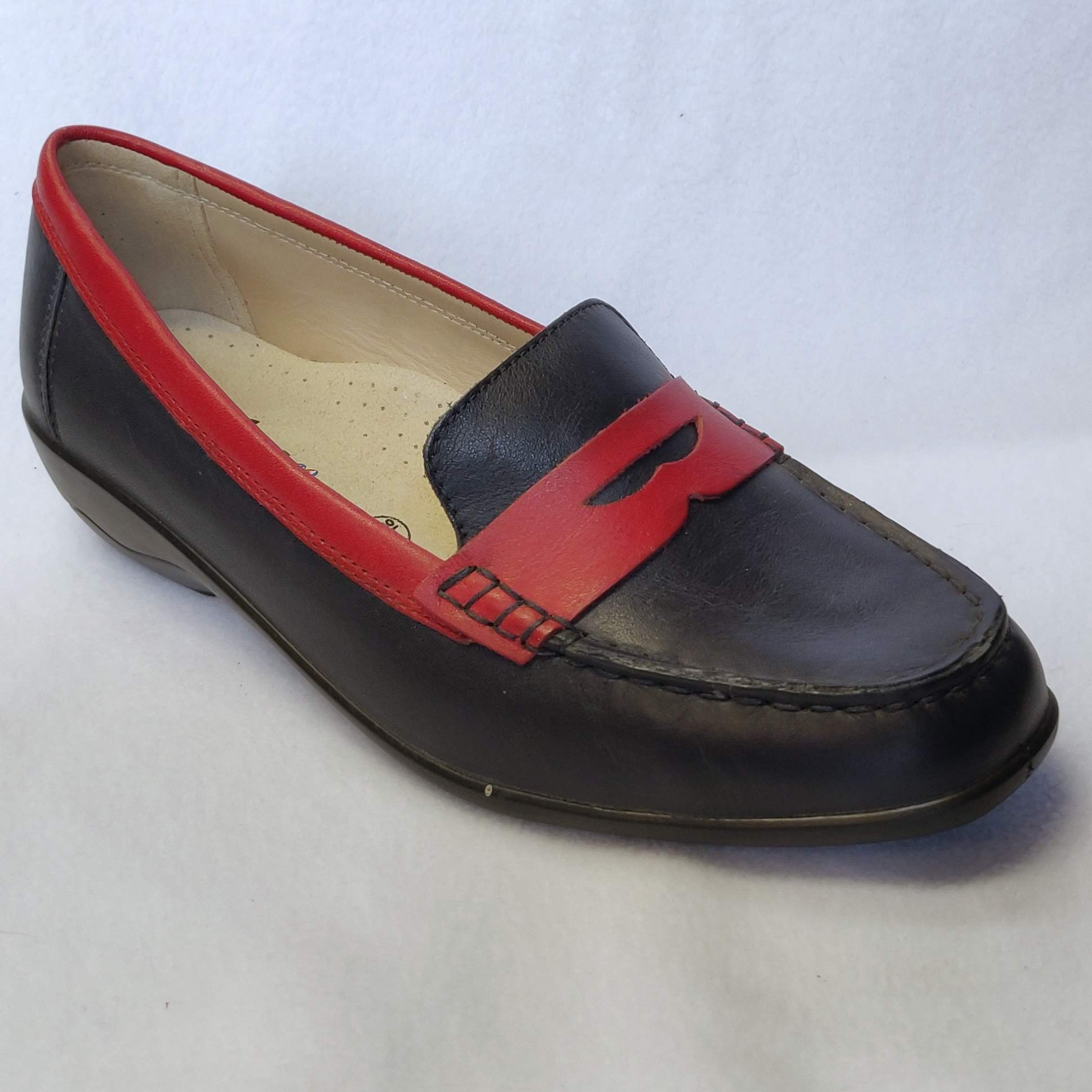 Ladies Padders Black/Navy Esther Shoes Size 6.5
