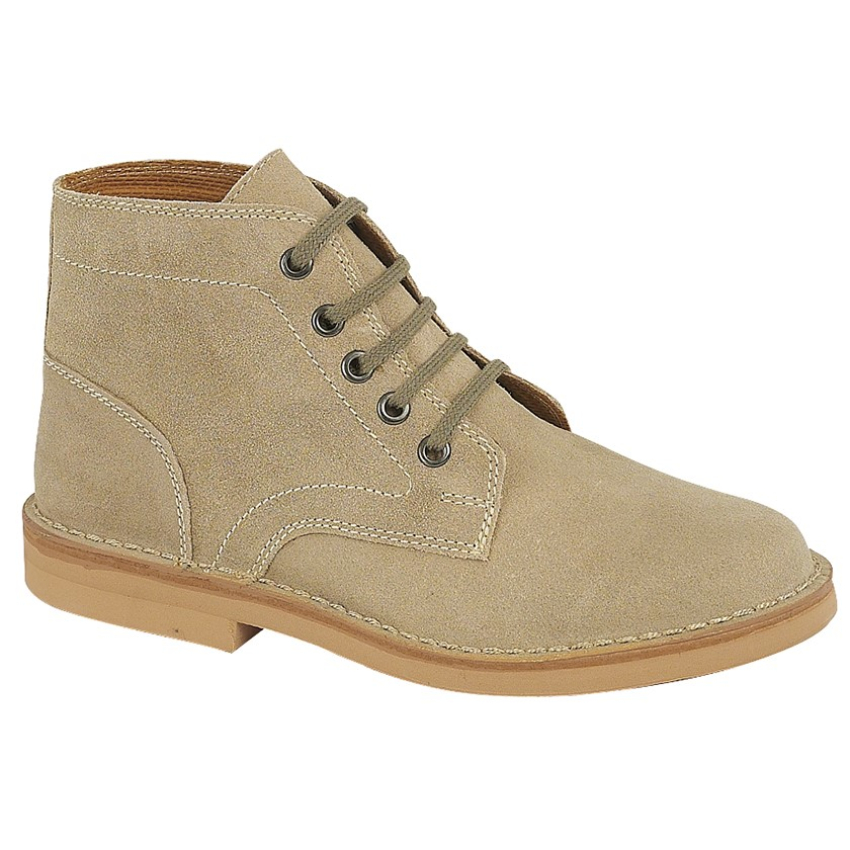 Gents Roamers 5 Eye Taupe Suede Desert Boots