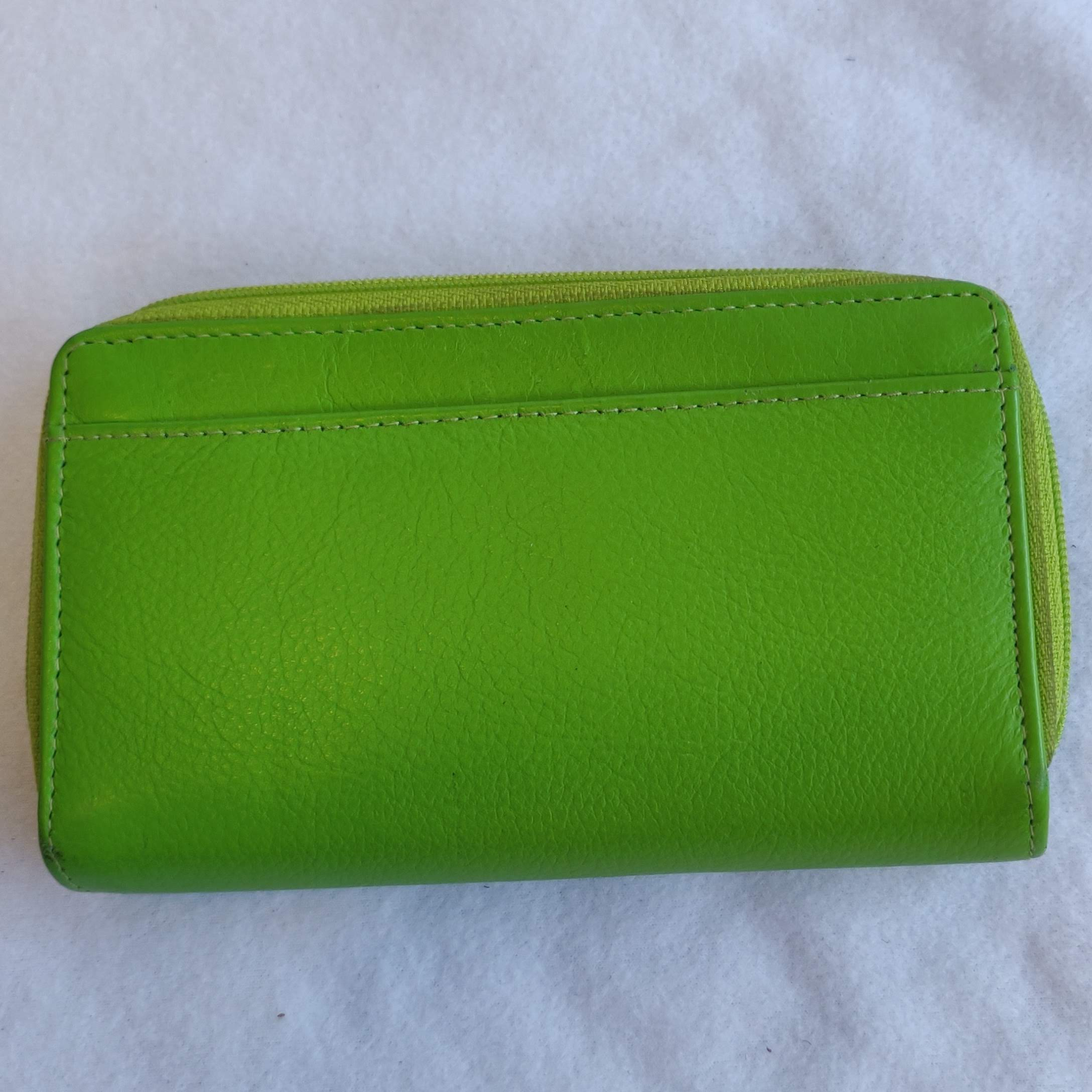 Ladies Leather Purse Lime Green 603612