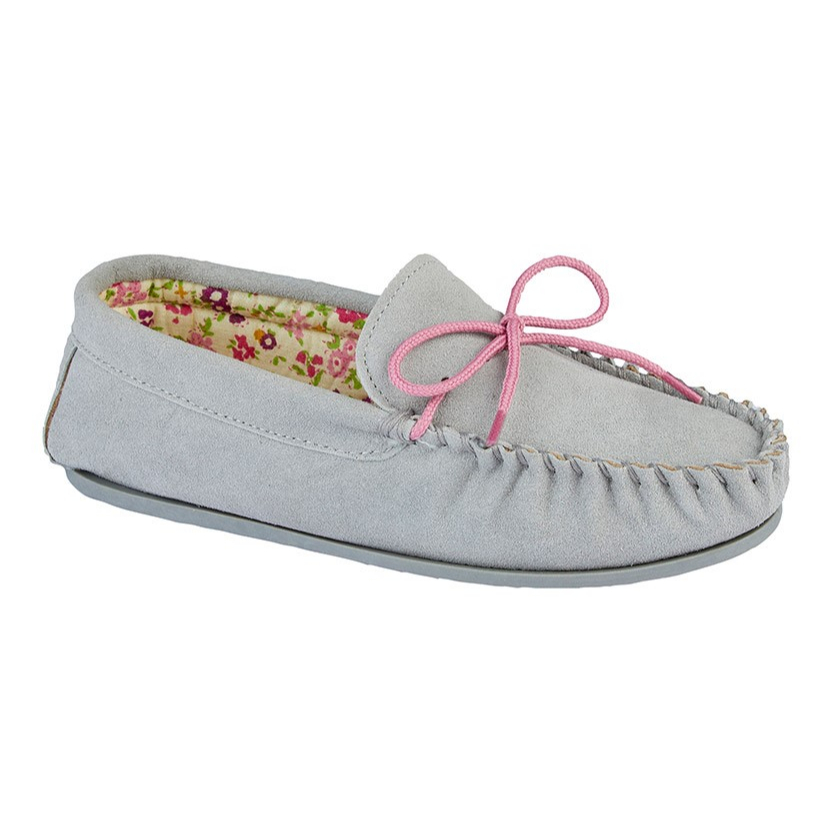 Mokkers Ladies Grey Suede Slippers
