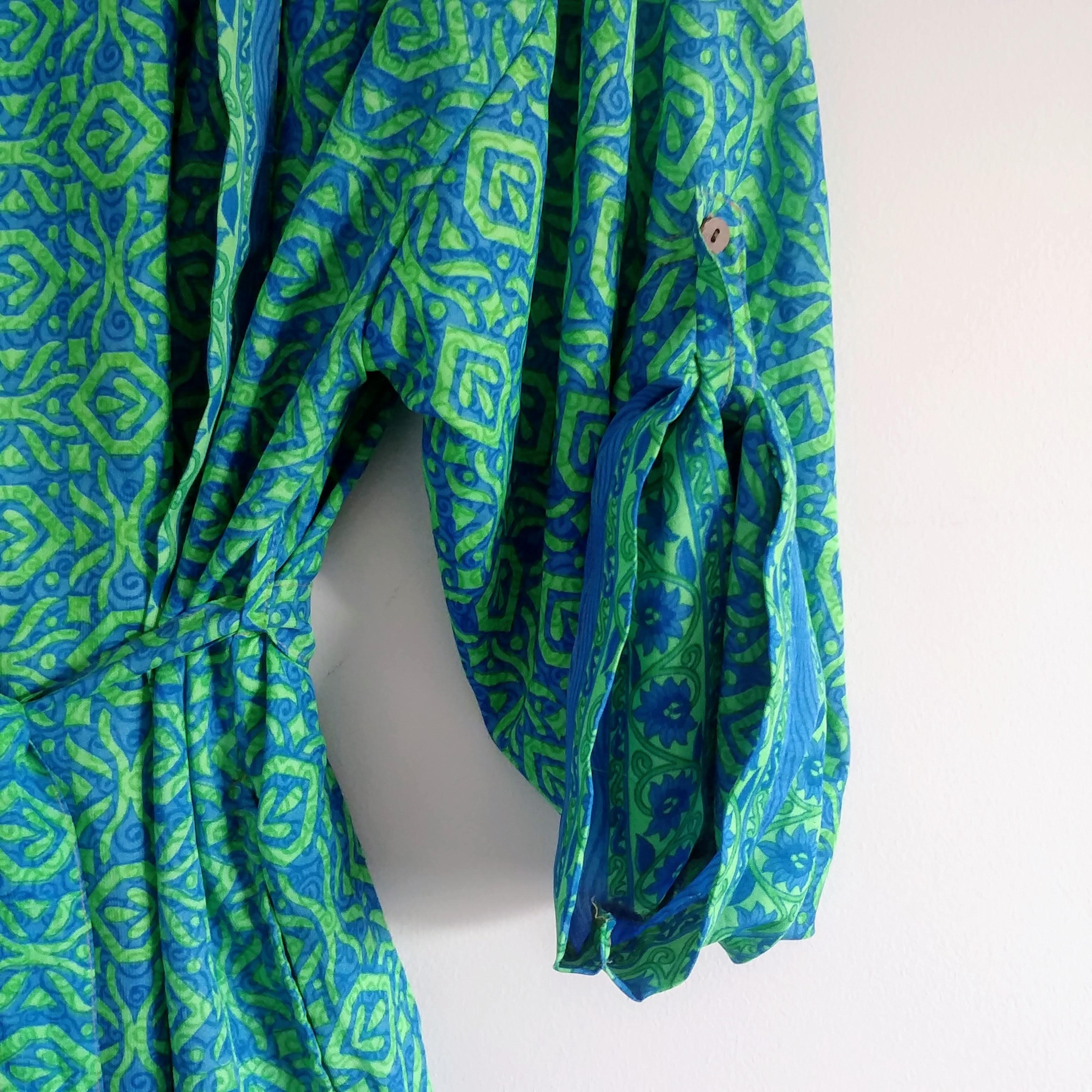 The Kimono Company - Short Kimono, Bright Blue & Green
