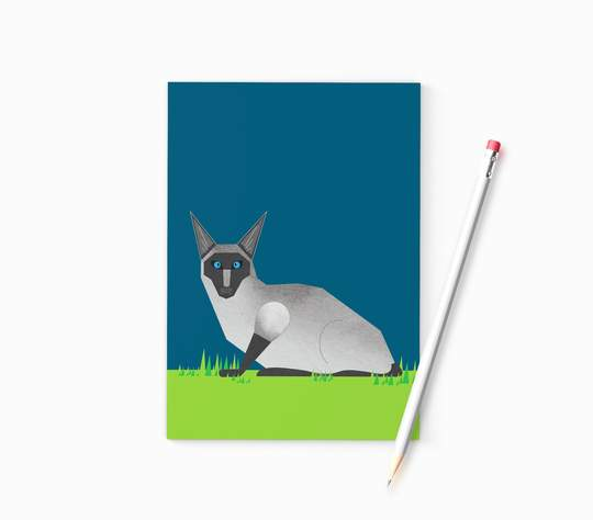 Ellie Good A6 Siamese Cat Recycled Notebook