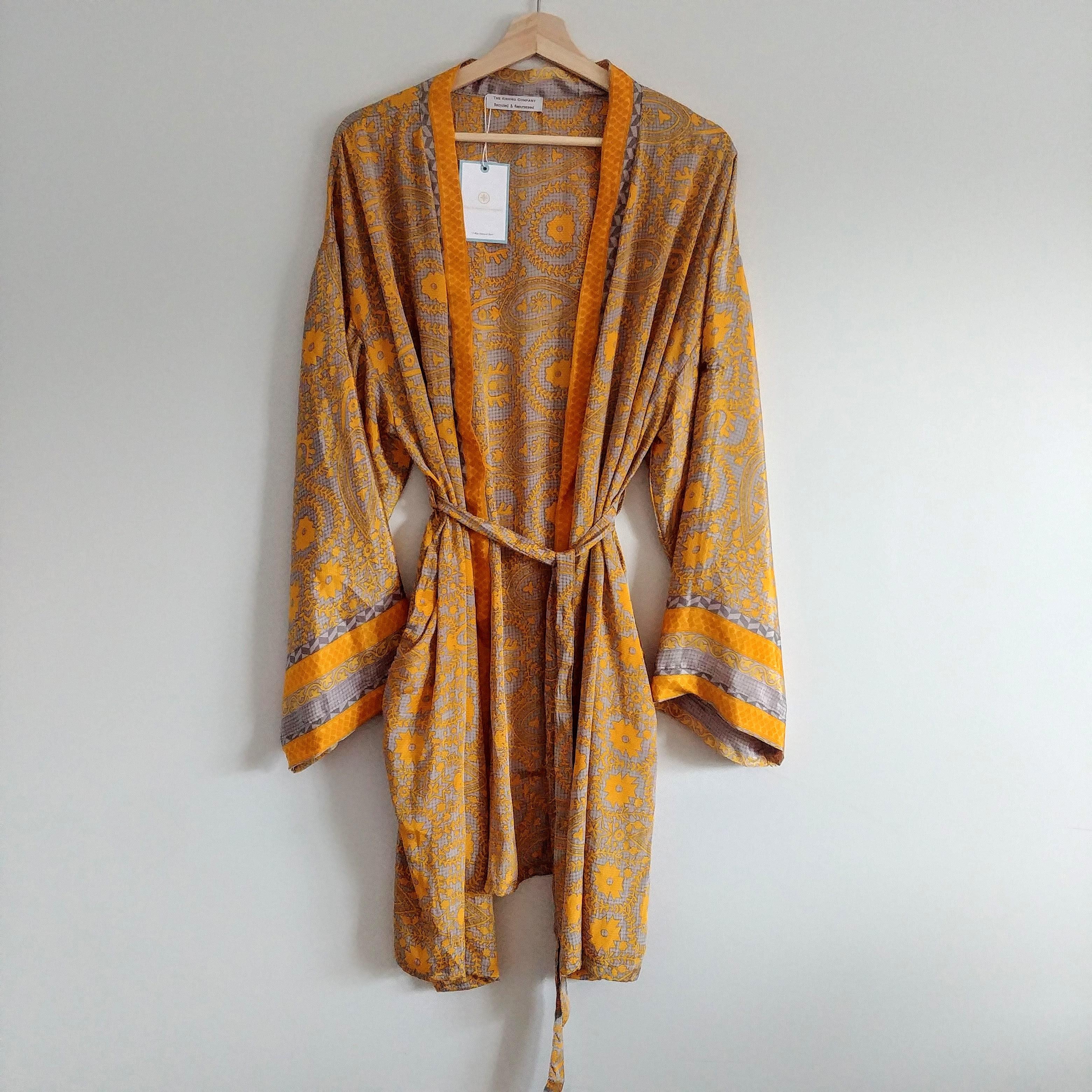 The Kimono Company - Short Kimono, Floral Mustard
