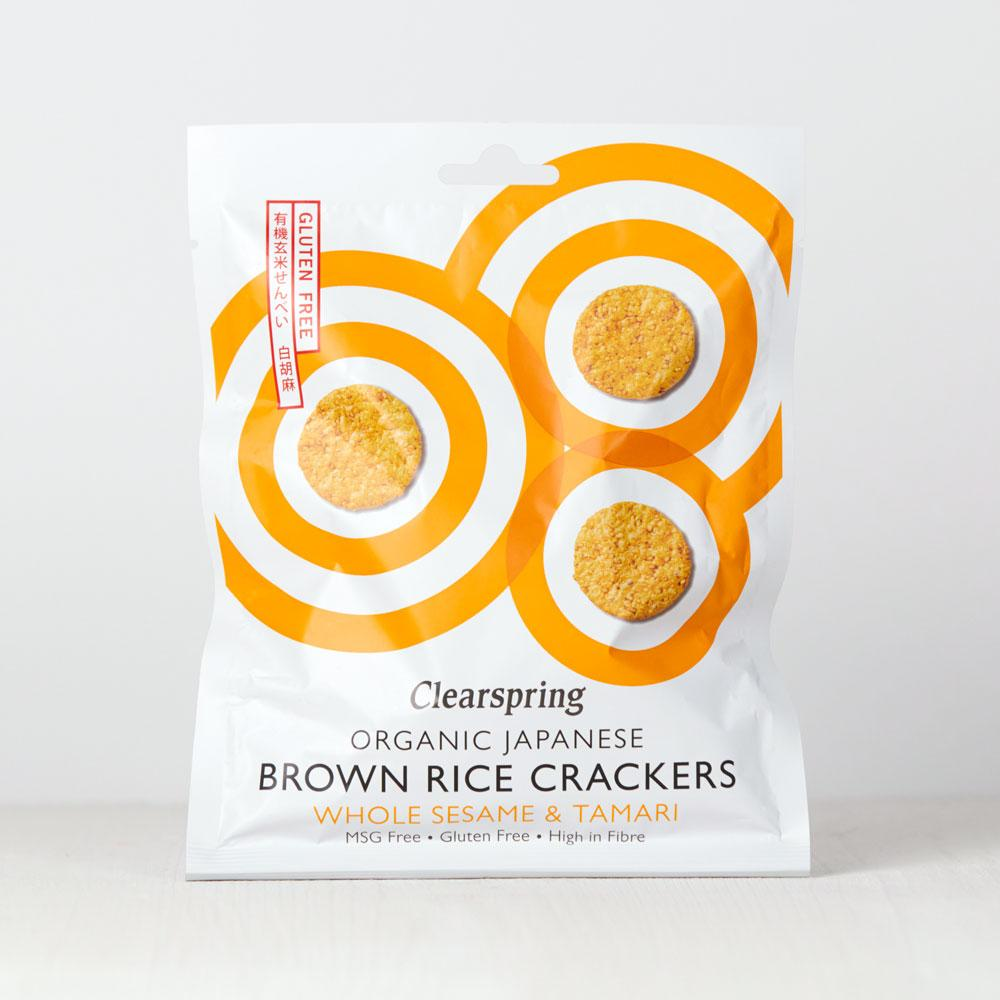 Clearspring Brown Rice Crackers Whole Sesame & Tamari