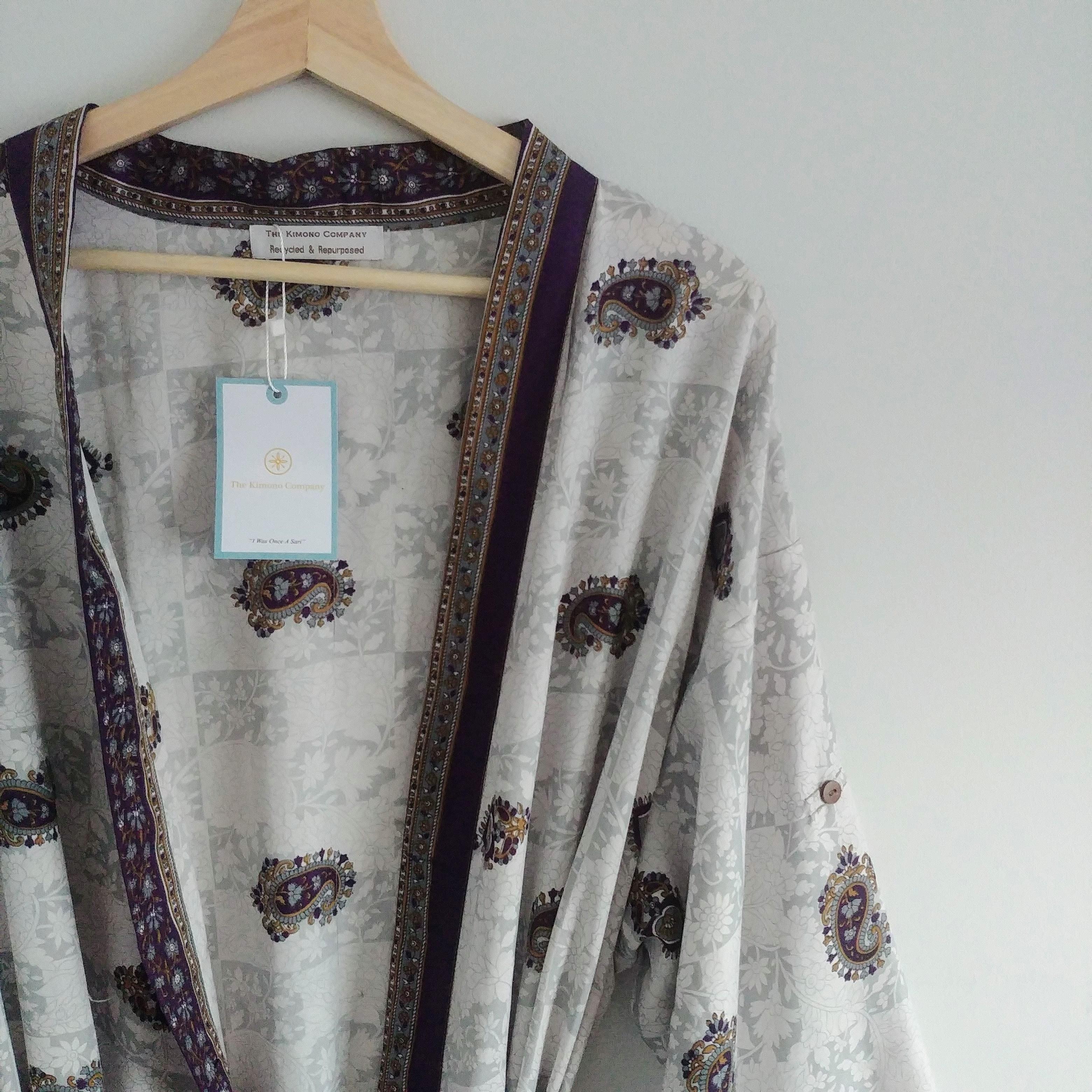 The Kimono Company - Long Kimono, Paisley Plum