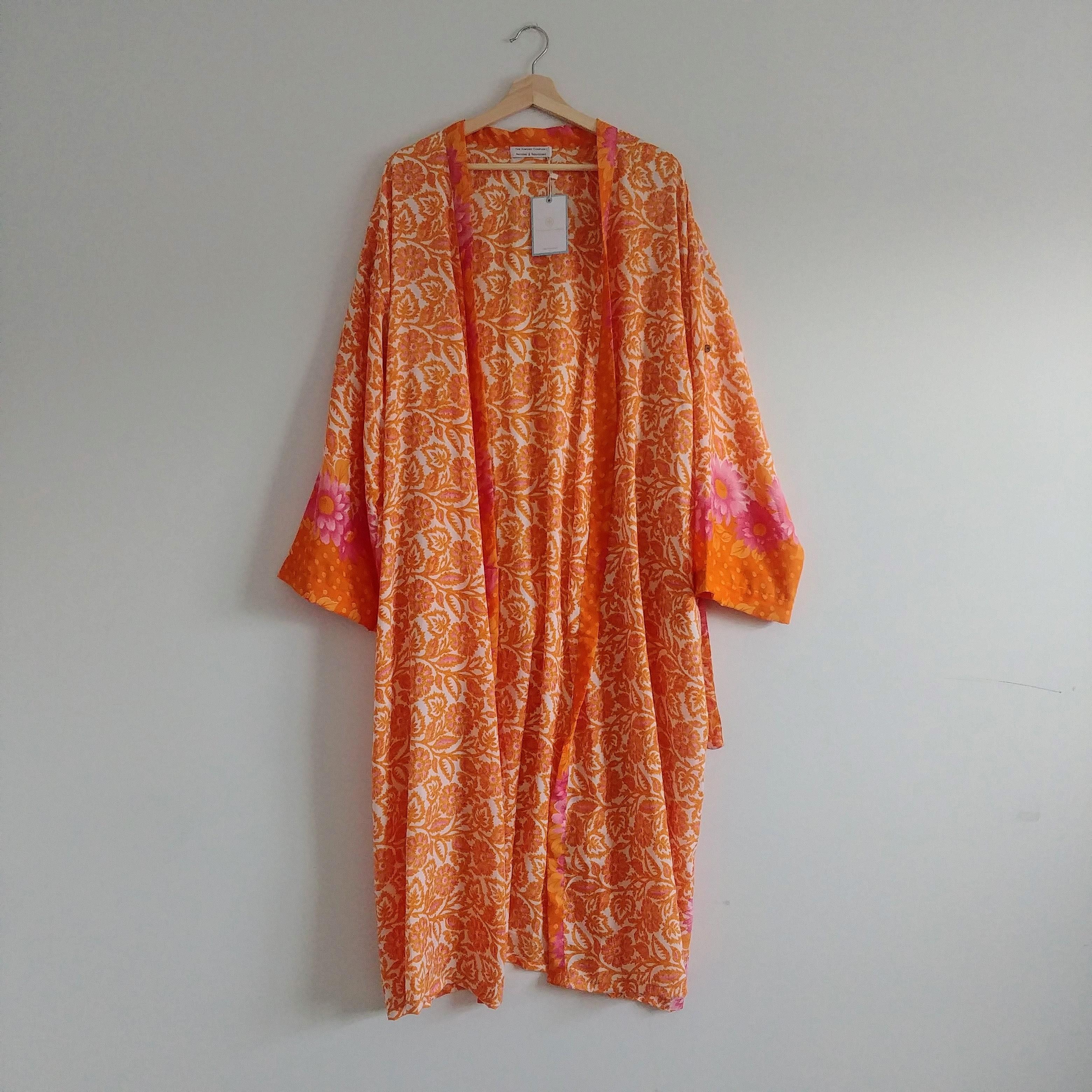 The Kimono Company - Long Kimono, Floral Orange