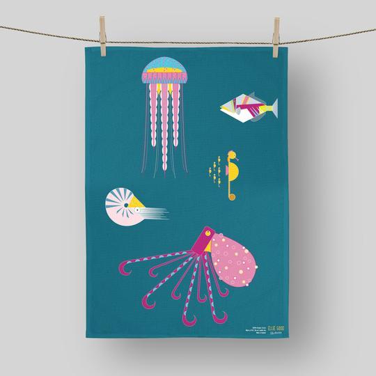 Ellie Good Organic Cotton Sea Creatures Tea Towel