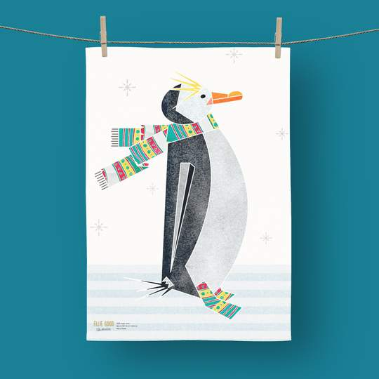 Ellie Good Organic Cotton Winter Penguin Tea Towel