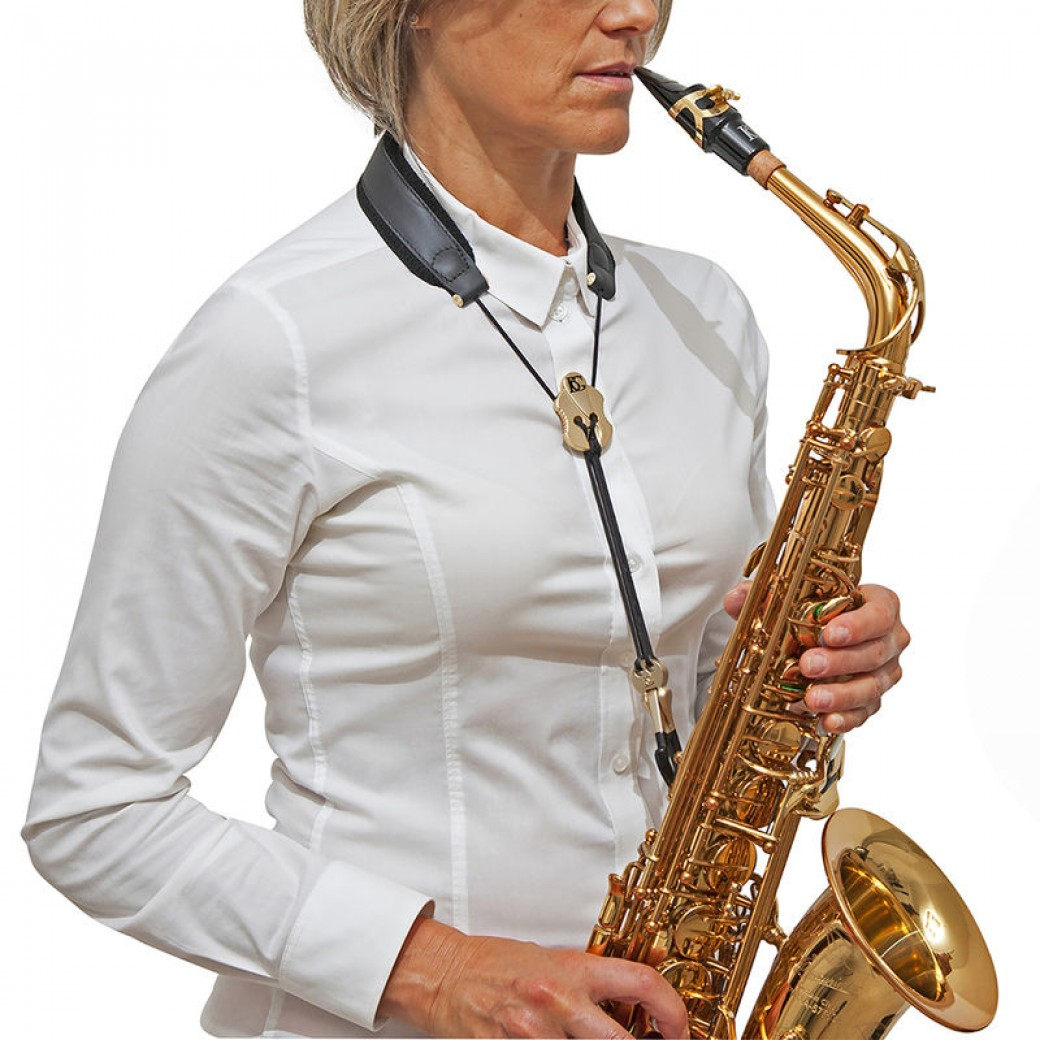 BG padded leather saxophone strap (black/gold) S20JMSH