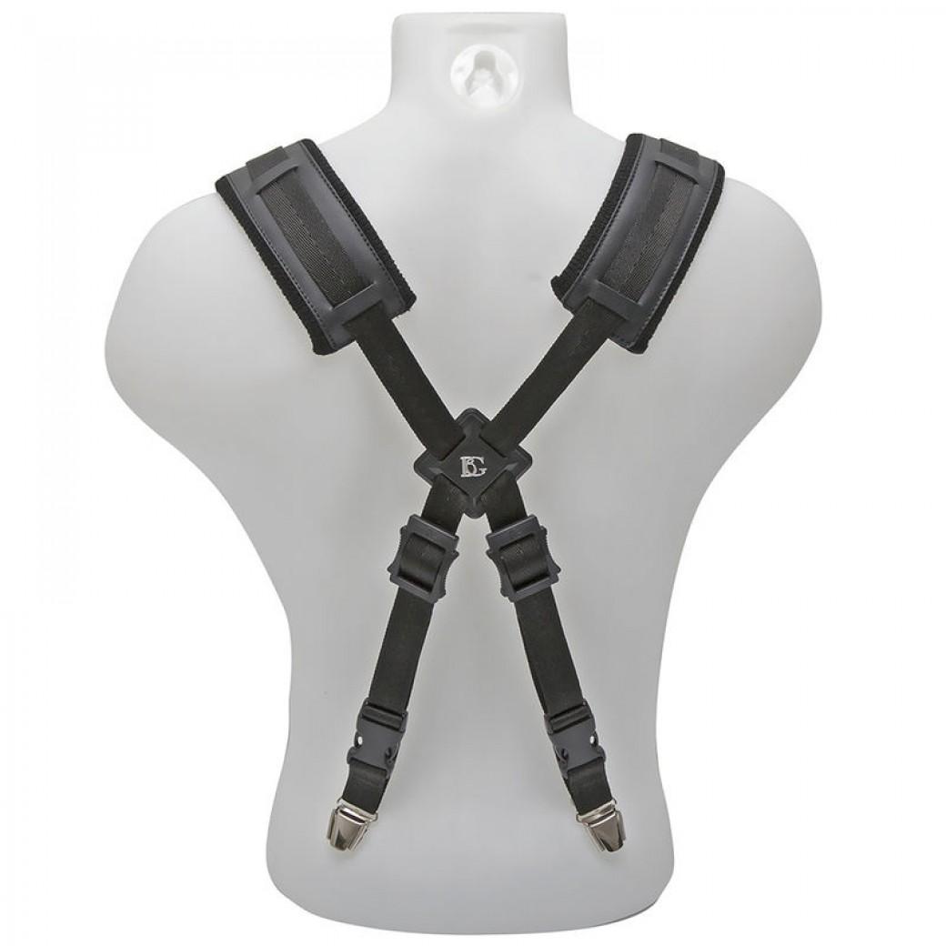 BG padded leather saxophone strap with braces (black) SCM