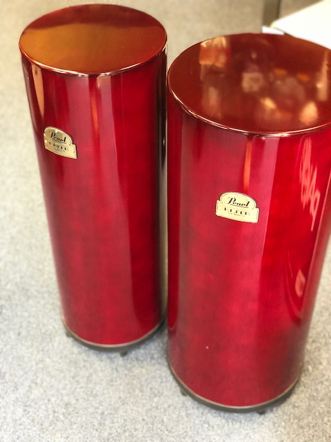 "Pearl 10"" And 12"" Tube Cajon Pair Sheer Red"