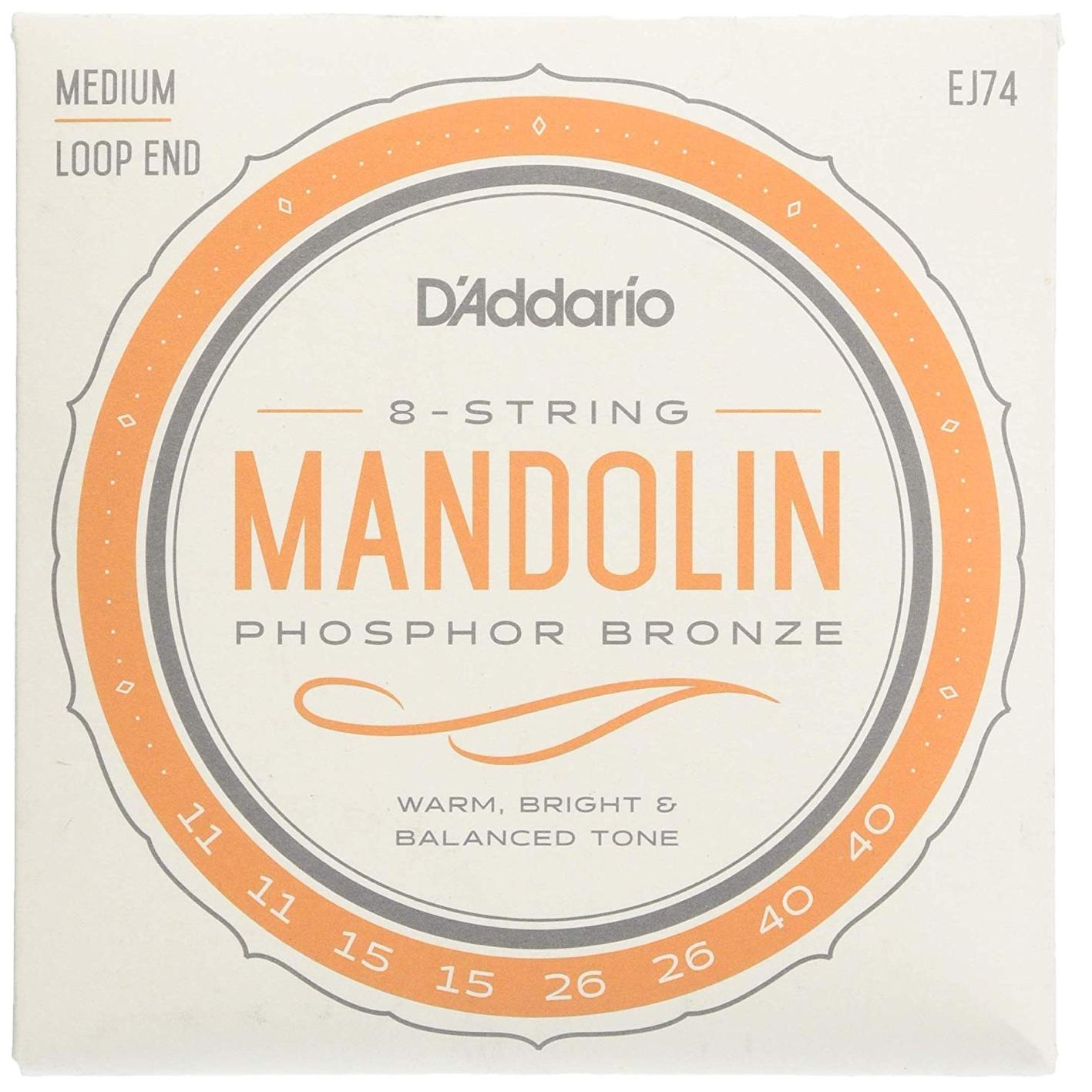 D'Addario EJ74 Mandolin Phosphor Bronze Medium Set Loop End